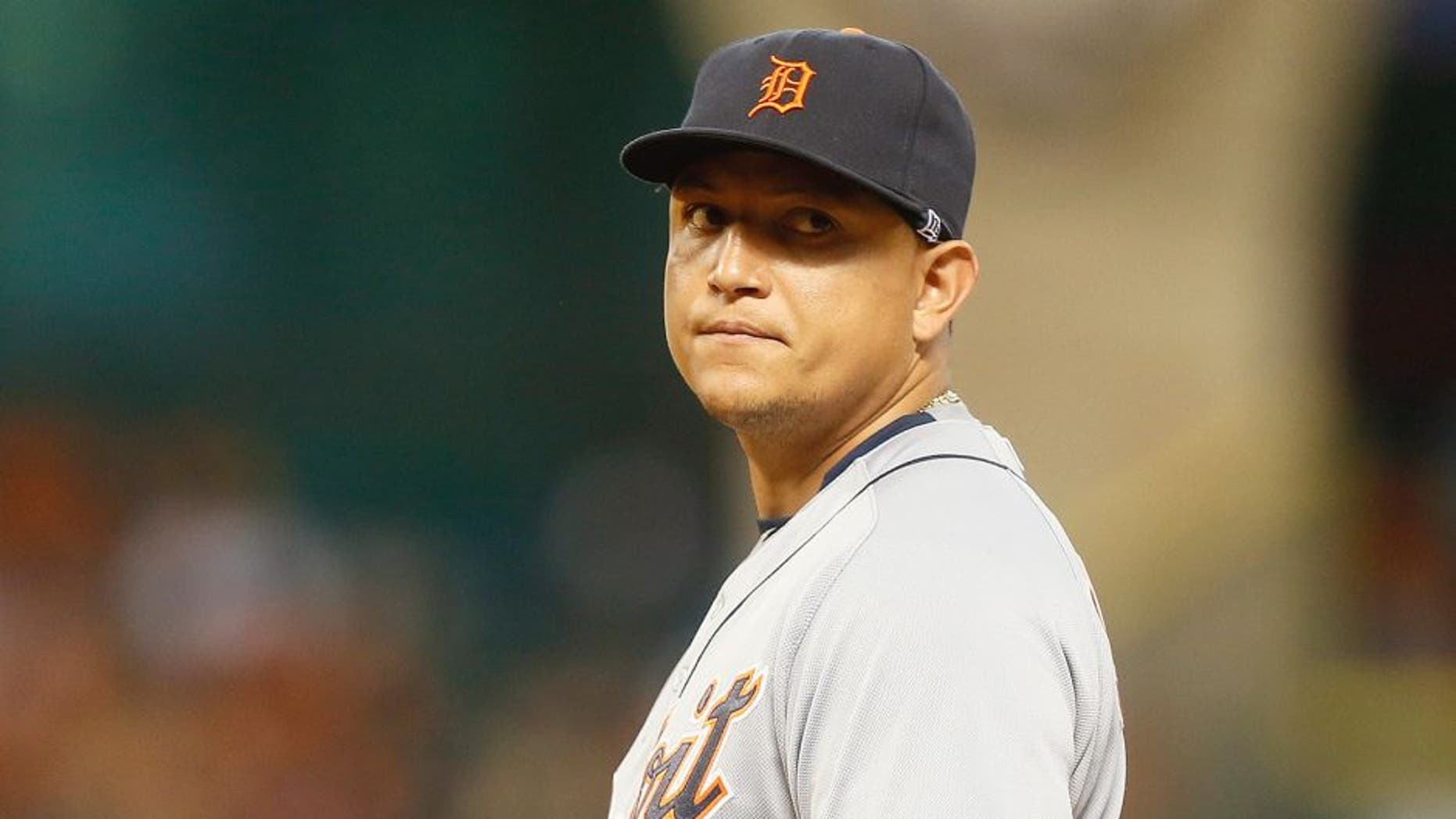 HOUSTON, TX - AUGUST 14: Miguel Cabrera #24 of the Detroit Tigers looks on during a game against the Houston Astros at Minute Maid Park on August 14, 2015 in Houston, Texas. (Photo by Bob Levey/Getty Images)