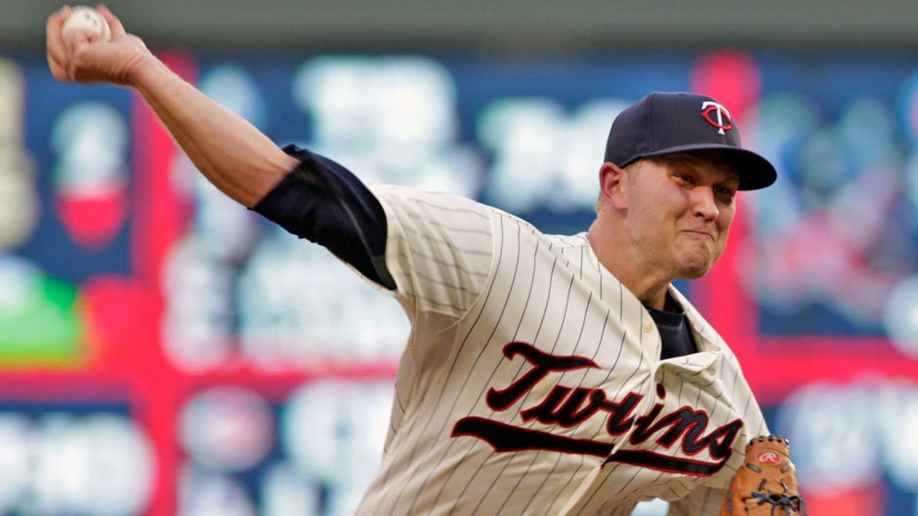 Minnesota Twins starting pitcher Tyler Duffey delivers during the sixth inning of a baseball game against the Cleveland Indians on Saturday, Aug. 15, 2015, in Minneapolis. Duffey picked up his first major league win, giving up one hit in six innings, as Minnesota won 4-1. AP Photo/Paul Battaglia)