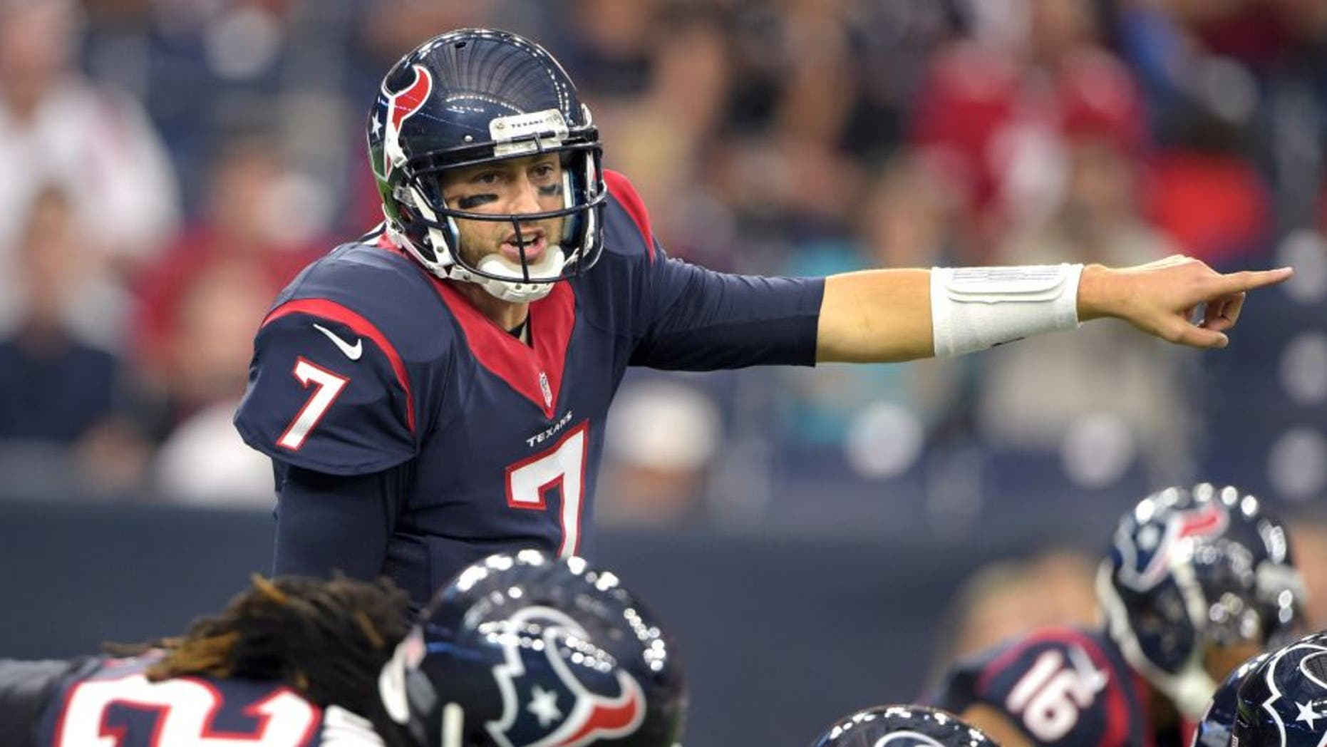 Aug 15, 2015; Houston, TX, USA; Houston Texans quarterback Brian Hoyer (7) gestures against the San Francisco 49ers in a preseason NFL football game at NRG Stadium. Mandatory Credit: Kirby Lee-USA TODAY Sports