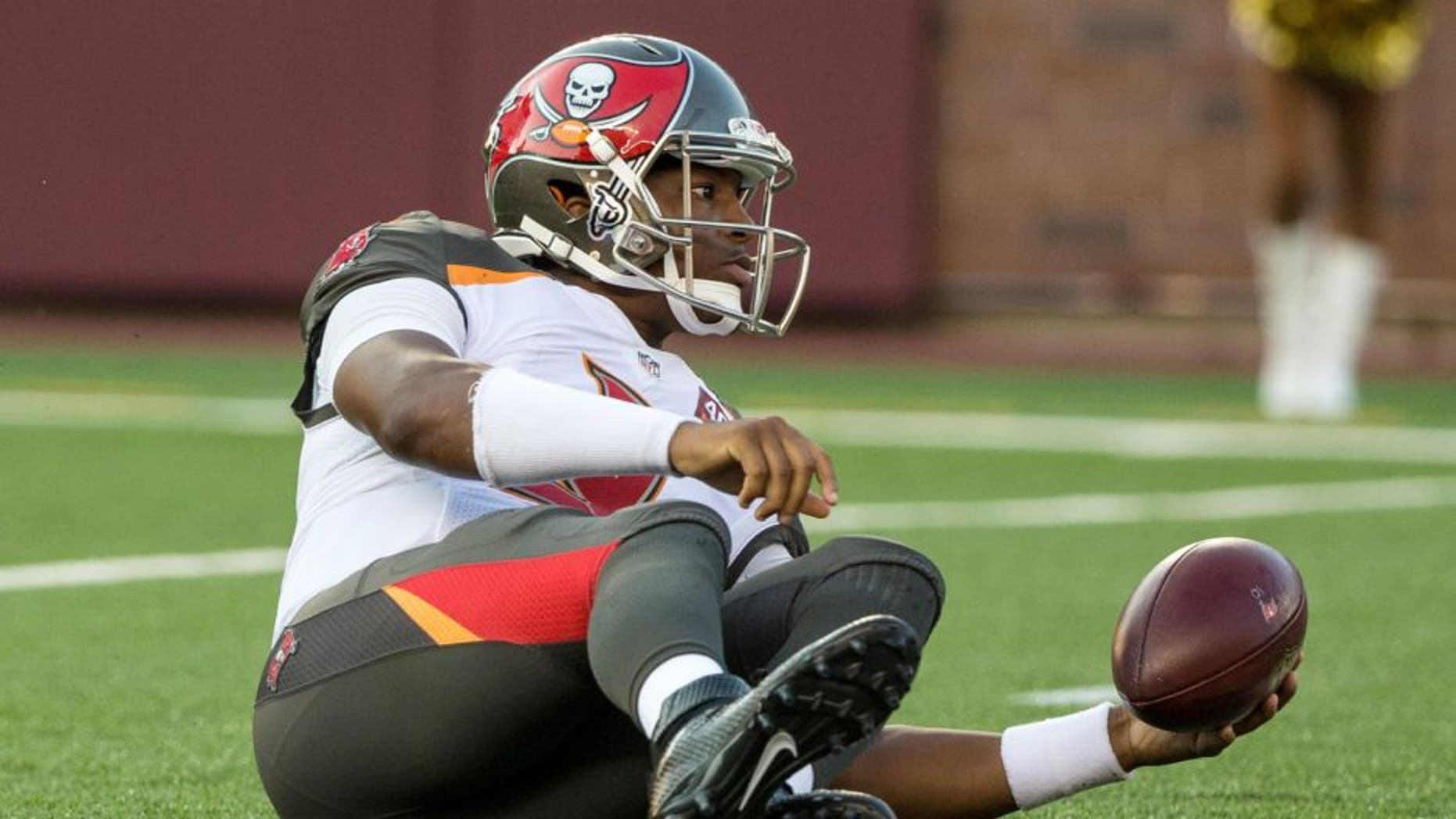 Aug 15, 2015; Minneapolis, MN, USA; Tampa Bay Buccaneers quarterback Jameis Winston (3) reacts after a sack during the first quarter in a preseason NFL football game against the Minnesota Vikings at TCF Bank Stadium. Mandatory Credit: Brace Hemmelgarn-USA TODAY Sports