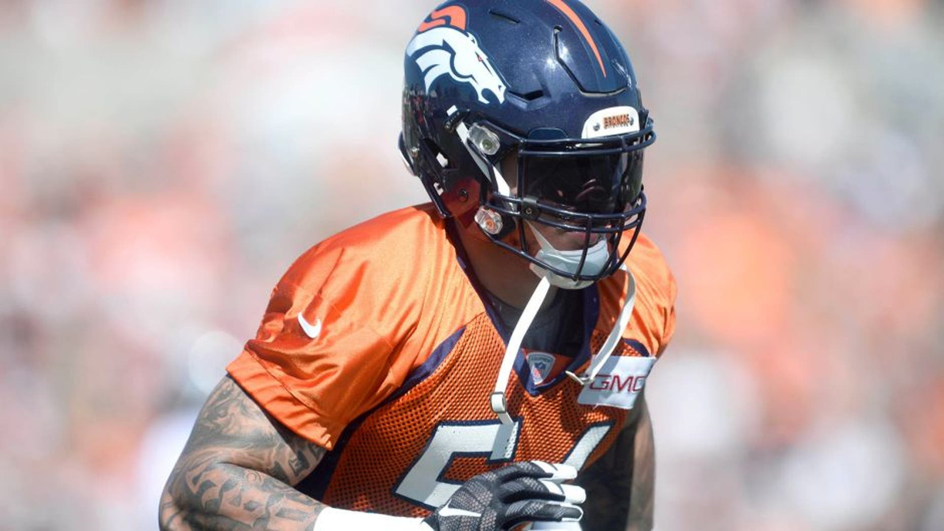 Jul 31, 2015; Englewood, CO, USA; Denver Broncos linebacker Shane Ray (56) during training camp activities at the UCHealth Training Center. Mandatory Credit: Ron Chenoy-USA TODAY Sports