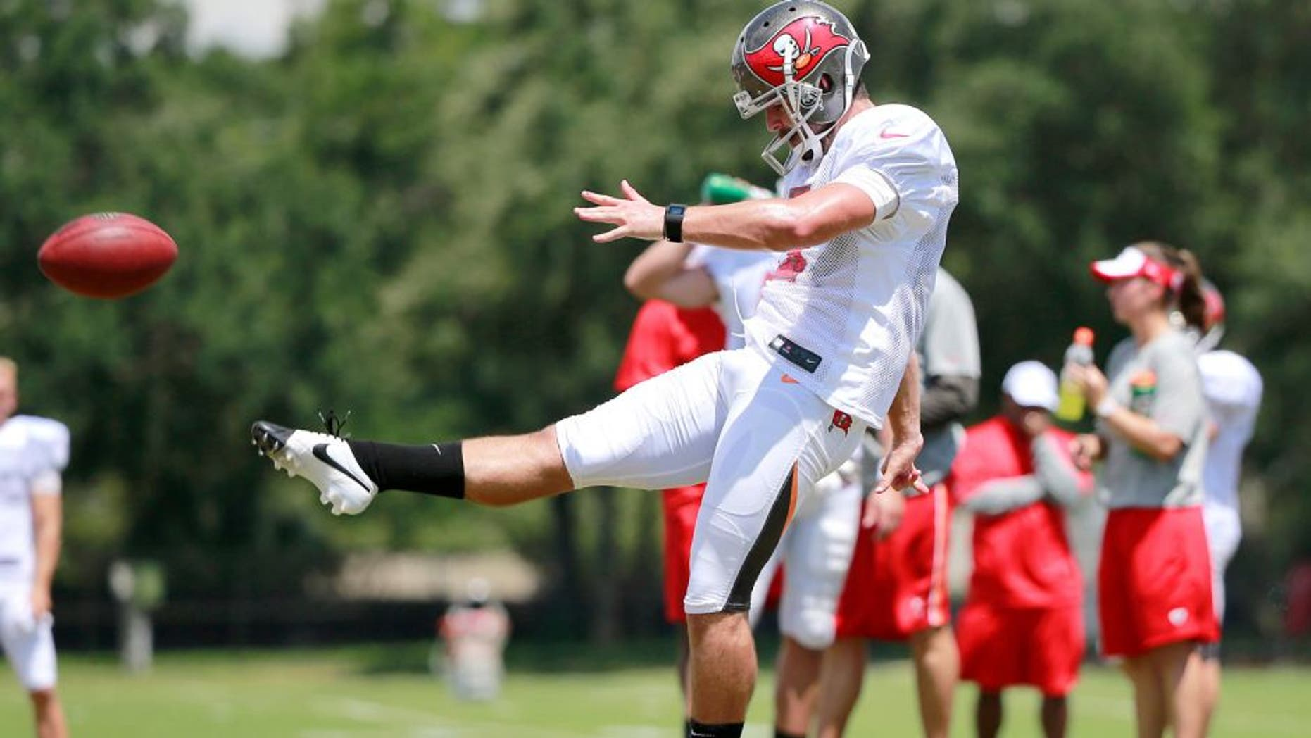 Aug 6, 2015; Tampa Bay, FL, USA; Tampa Bay Buccaneers punter Spencer Lanning (5) works out during training camp at One Buc Place. Mandatory Credit: Kim Klement-USA TODAY Sports