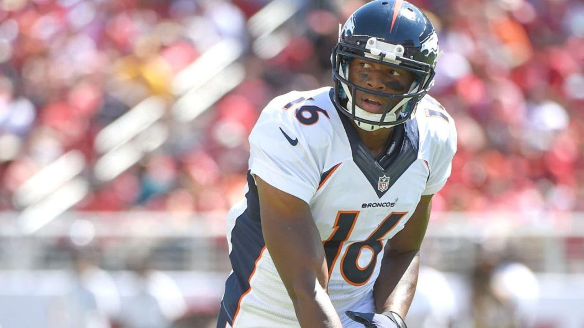 August 17, 2014; Santa Clara, CA, USA; Denver Broncos wide receiver Bennie Fowler (16) during the third quarter against the San Francisco 49ers at Levi's Stadium. The Broncos defeated the 49ers 34-0. Mandatory Credit: Kyle Terada-USA TODAY Sports