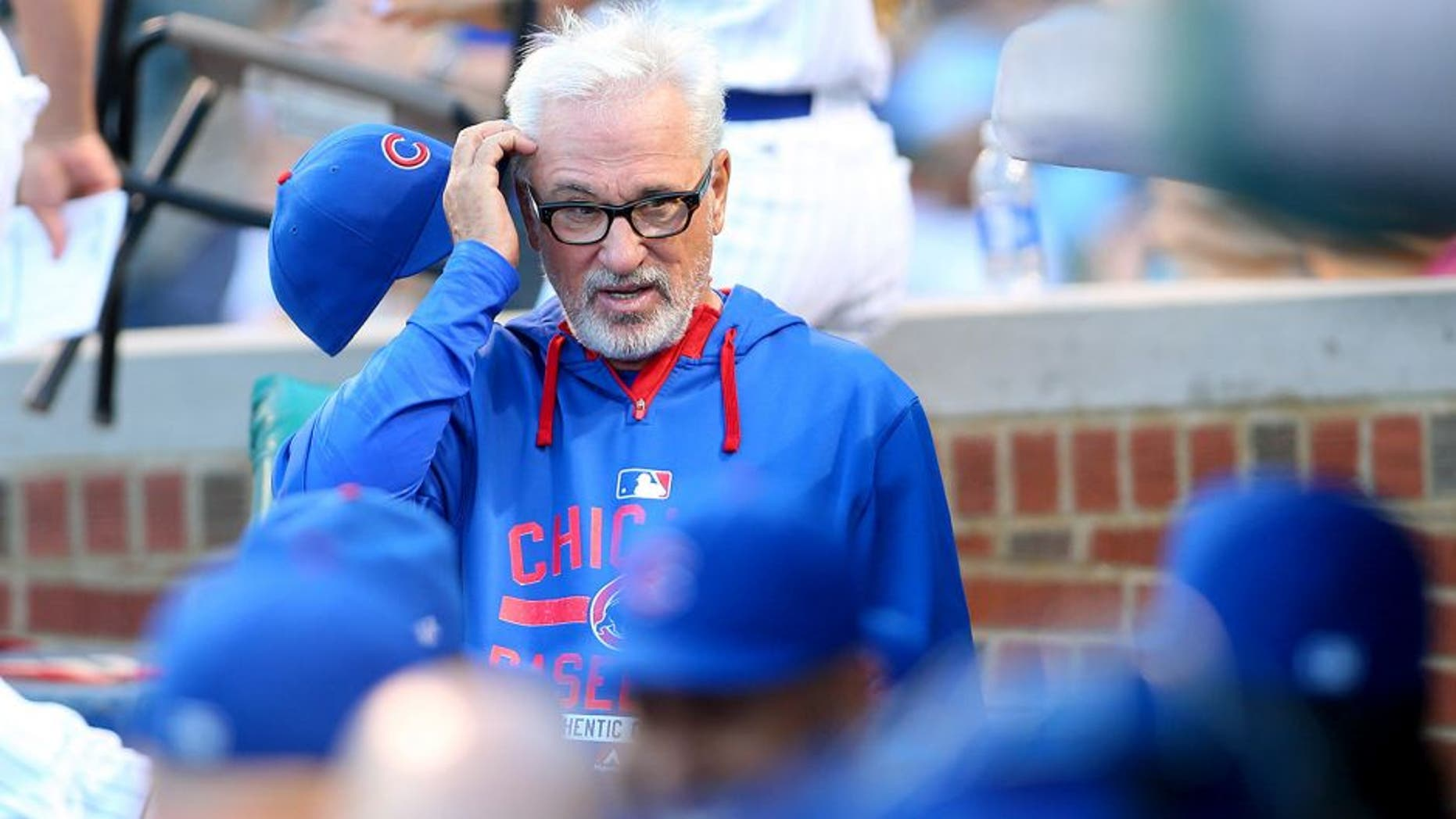 Aug 12, 2015; Chicago, IL, USA; Chicago Cubs manager Joe Maddon (70) before the game against the Milwaukee Brewers at Wrigley Field. Mandatory Credit: Caylor Arnold-USA TODAY Sports