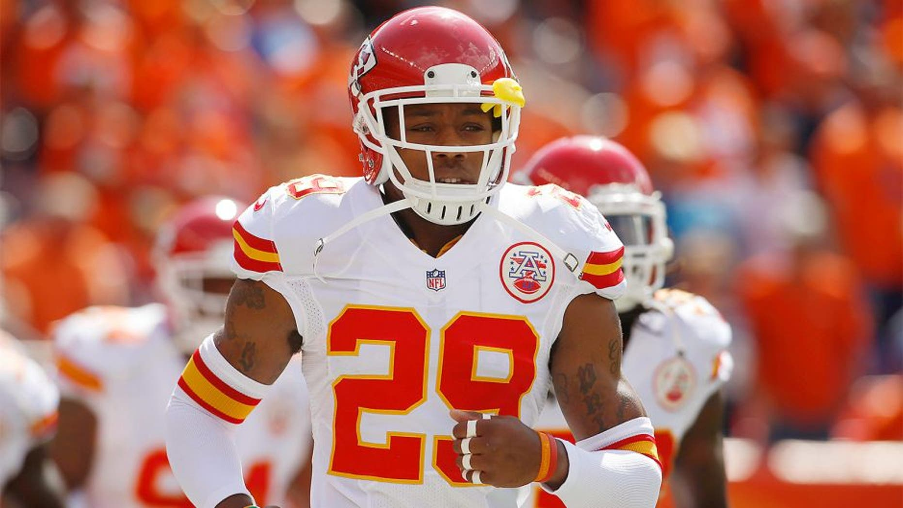 Sep 14, 2014; Denver, CO, USA; Kansas City Chiefs safety Eric Berry (29) before the game against the Denver Broncos at Sports Authority Field at Mile High. Mandatory Credit: Chris Humphreys-USA TODAY Sports