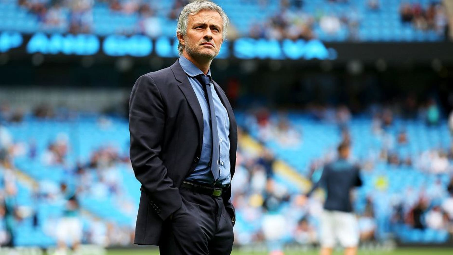MANCHESTER, ENGLAND - AUGUST 16: Jose Mourinho, manager of Chelsea looks on prior to the Barclays Premier League match between Manchester City and Chelsea at the Etihad Stadium on August 16, 2015 in Manchester, England. (Photo by Alex Livesey/Getty Images)