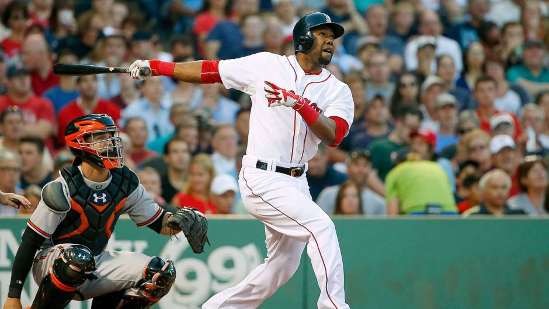 BOSTON, MA - June 24: Alejandro De Aza #31 of the Boston Red Sox during the fourth inning of the game against the Baltimore Orioles at Fenway Park on June 24, 2015 in Boston, Massachusetts. (Photo by Winslow Townson/Getty Images)