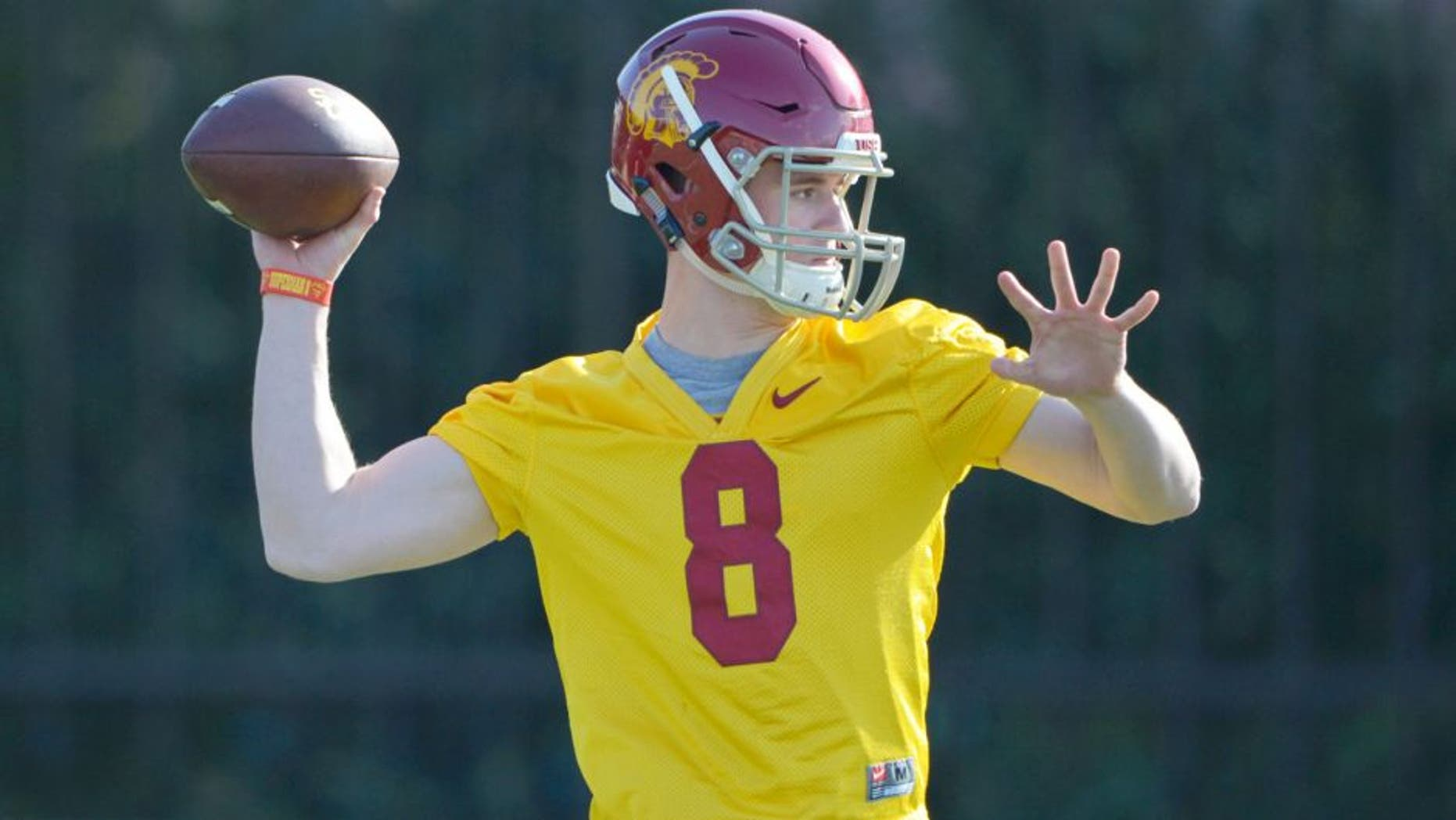 Mar 3, 2015; Los Angeles, CA, USA; Southern California Trojans quarterback Ricky Town (8) throws a pass at spring practice at Cromwell Field. Mandatory Credit: Kirby Lee-USA TODAY Sports