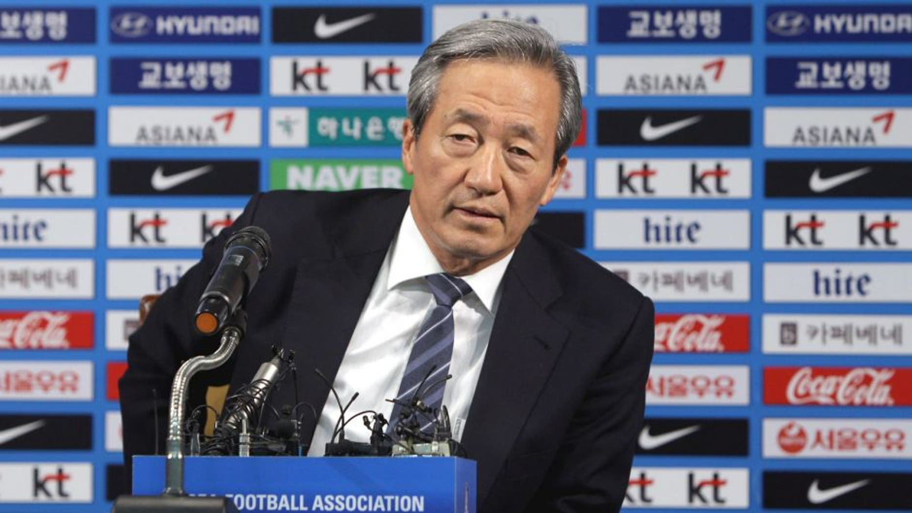 SEOUL, SOUTH KOREA - JUNE 03: Former FIFA vice president Chung Mong-Joon speaks during a press conference on June 3, 2015 in Seoul, South Korea. Honorary Vice President of FIFA Chung Mong-Joon announced that he will consider running for FIFA presidency after the announcement by Sepp Blatter to step down from the position later this year amid a corruption scandal. (Photo by Chung Sung-Jun/Getty Images)