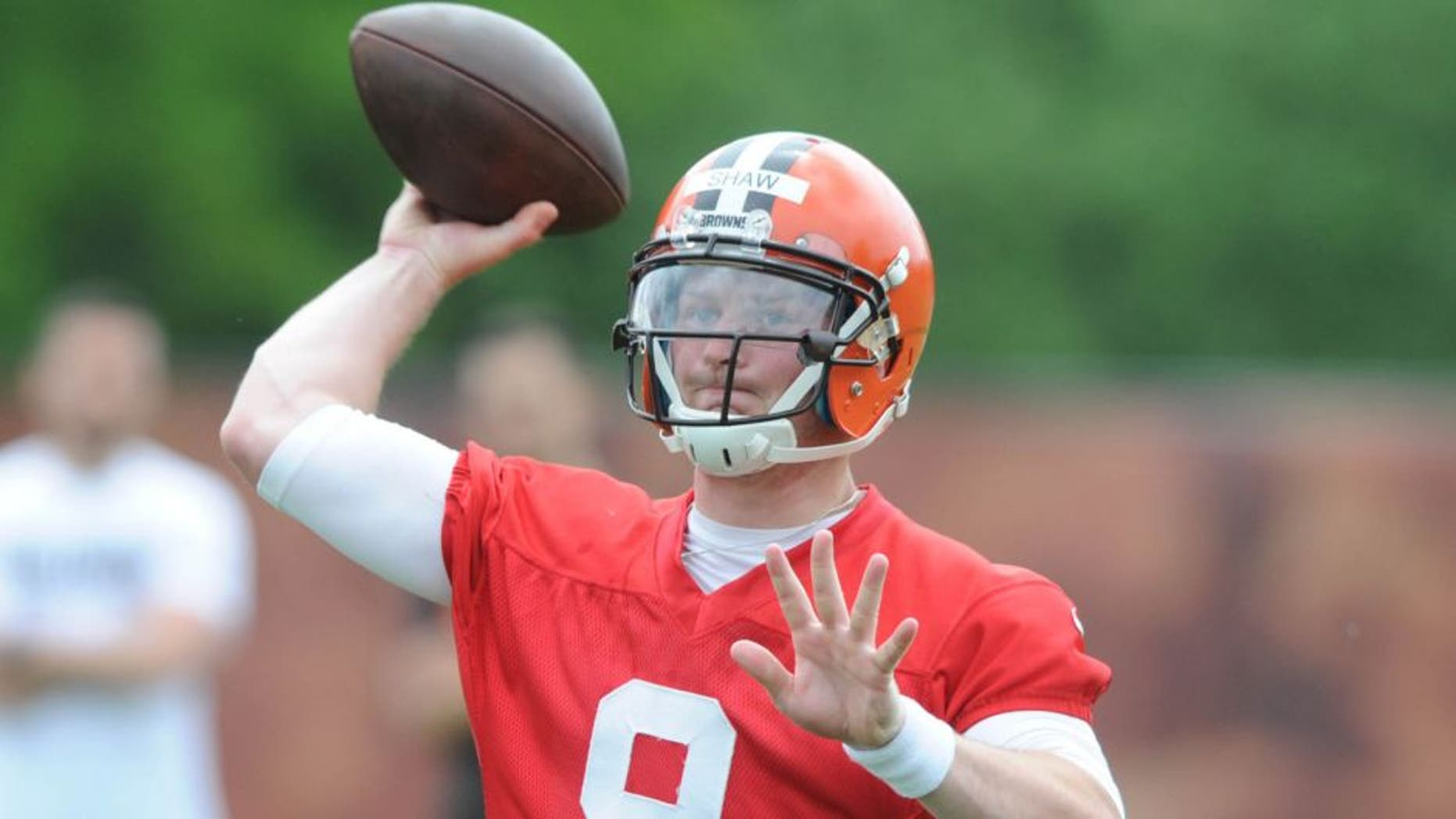 May 26, 2015; Berea, OH, USA; Cleveland Browns quarterback Connor Shaw (9) during organized team activities at the Cleveland Browns training facility. Mandatory Credit: Ken Blaze-USA TODAY Sports