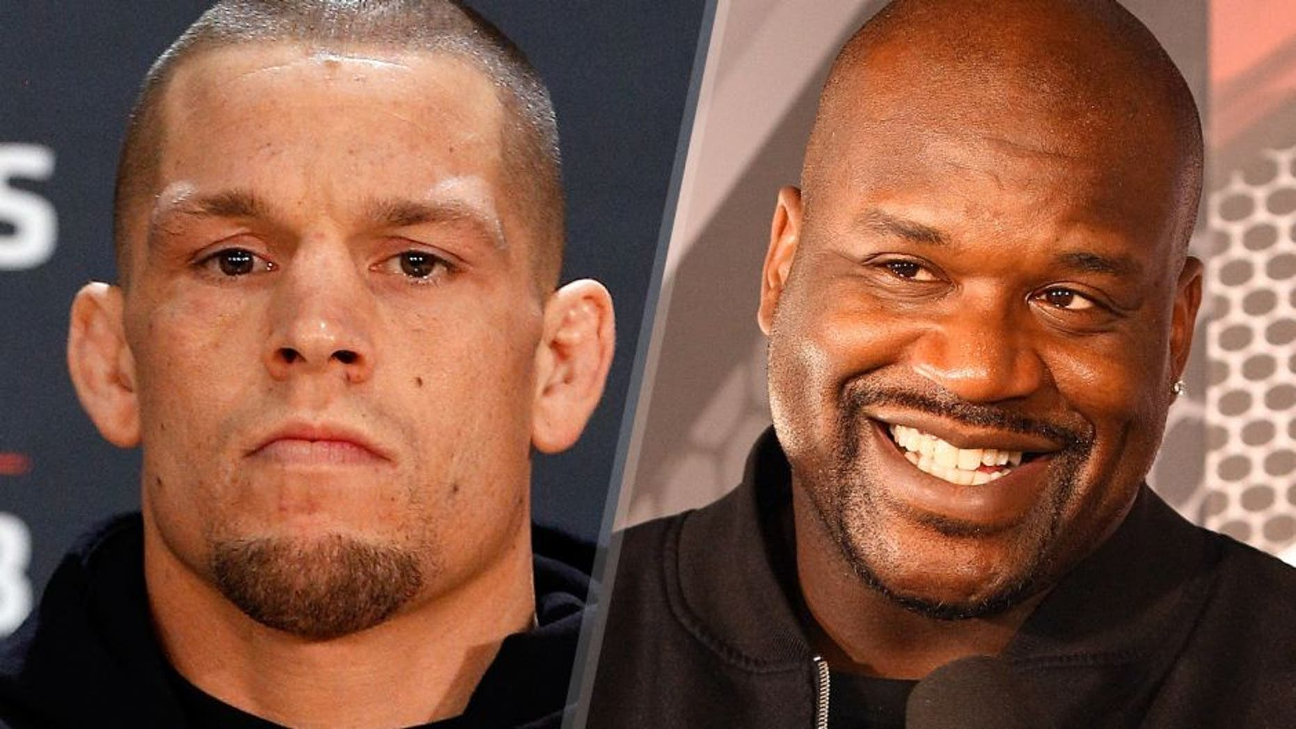 Nate Diaz poses for photos during the UFC Ultimate Media Day at the US Airways Center on December 11, 2014 in Phoenix, Arizona. (Photo by Josh Hedges/Zuffa LLC/Zuffa LLC via Getty Images) NBA legend Shaquille O'Neal is interviewed backstage during the FOX UFC Saturday event at the Amway Center on April 19, 2014 in Orlando, Florida. (Photo by Mike Roach/Zuffa LLC/Zuffa LLC via Getty Images)