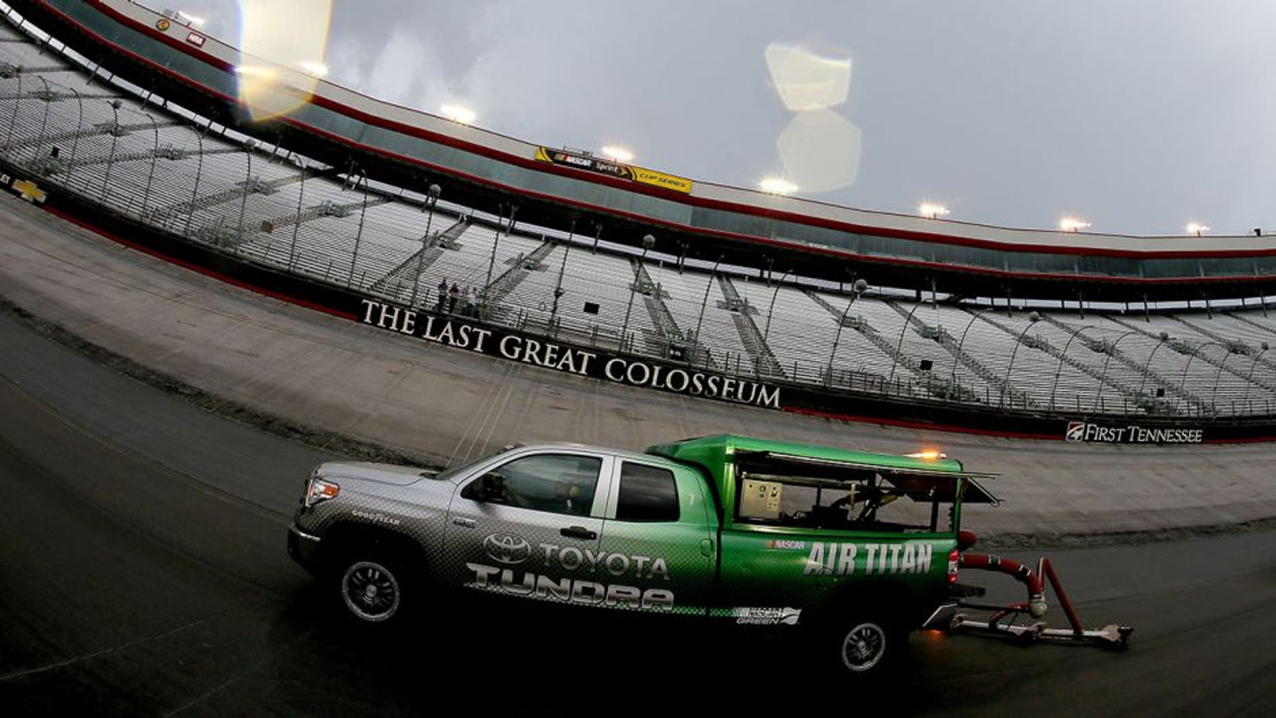 BRISTOL, TN - AUGUST 17: An Air Titan dries the racing surface during a rain delay for the NASCAR Whelen Modified Tours Bush's Beans 150 at Bristol Motor Speedway on August 17, 2016 in Bristol, Tennessee. (Photo by Sean Gardner/NASCAR via Getty Images)