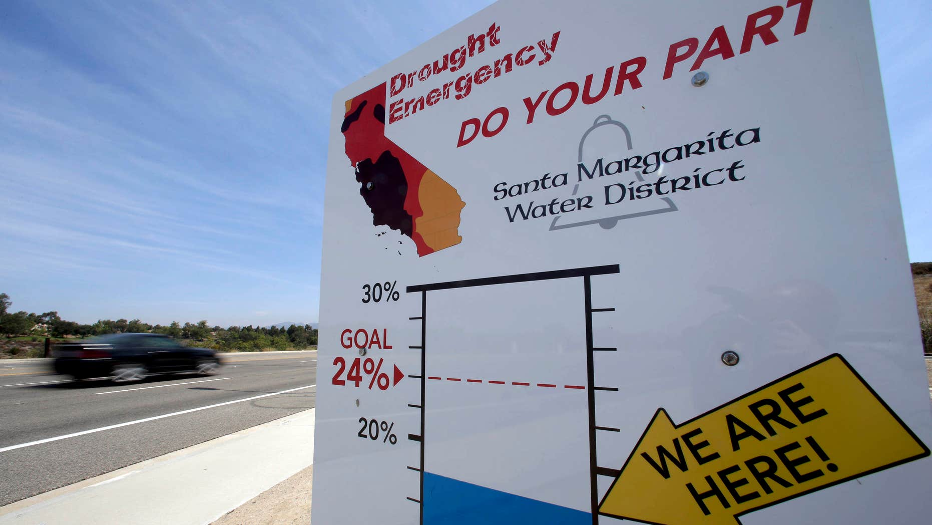 FILE - In this July 2, 2015 file photo, cars in Rancho Santa Margarita, Calif., drive by a sign encouraging residents to save water.