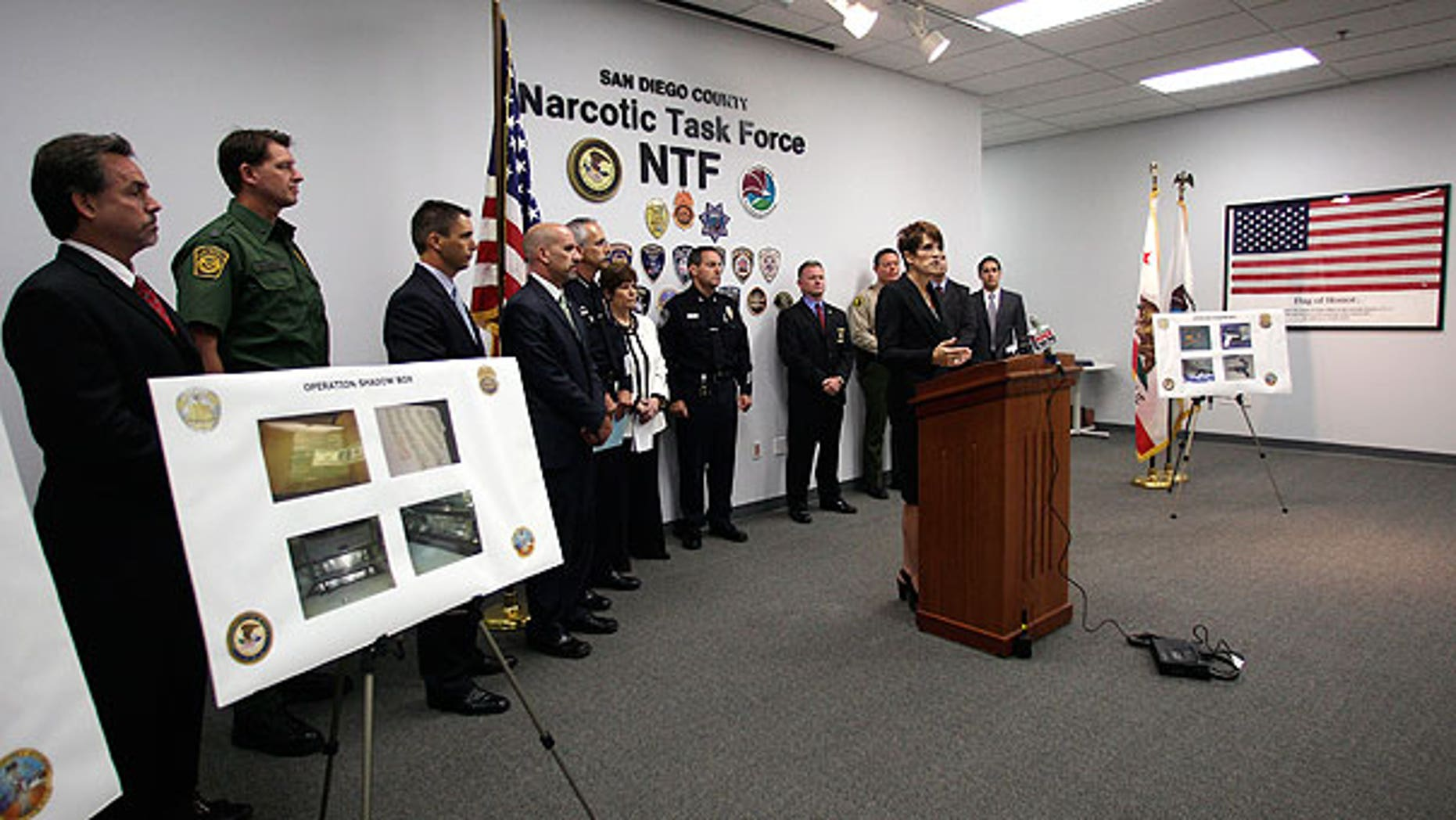 Aug. 18: United States Attorney Laura E. Duffy talks about the indictments evolving from arrest made in the undercover operation involving Iraqi Immigrants and Mexican drug cartels at a news conference in San Diego.