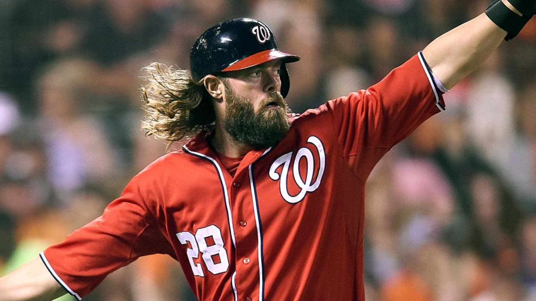 SAN FRANCISCO, CA - AUGUST 15: Jayson Werth #28 of the Washington Nationals is congratulated by Ian Desmond #20 after Werth scored against the San Francisco Giants in the top of the six inning at AT&T Park on August 15, 2015 in San Francisco, California. (Photo by Thearon W. Henderson/Getty Images)