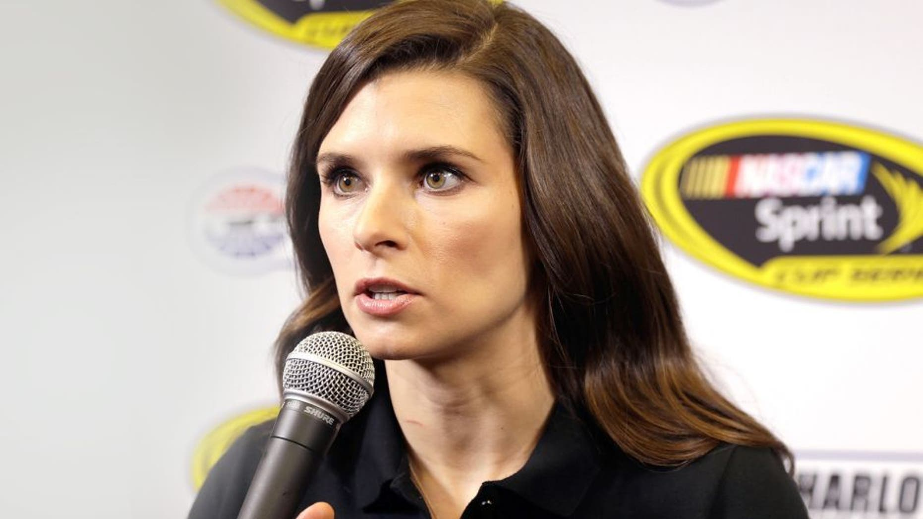 CHARLOTTE, NC - JANUARY 27: Danica Patrick talks with reporters during the NASCAR Sprint Media Tour at the Charlotte Convention Center on January 27, 2015 in Charlotte, North Carolina. (Photo by Bob Leverone/NASCAR via Getty Images)