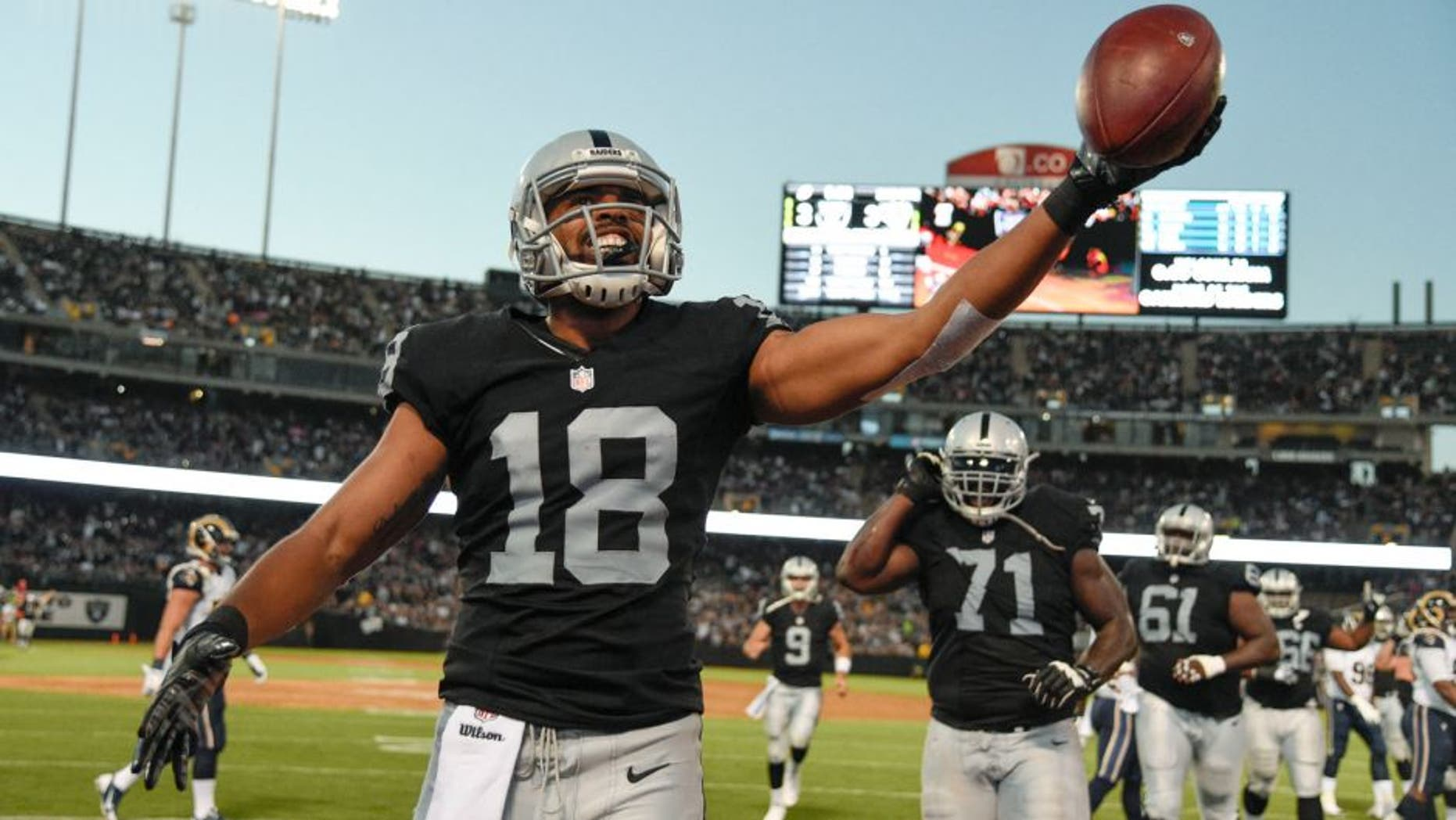 August 14, 2015; Oakland, CA, USA; Oakland Raiders wide receiver Andre Holmes (18) celebrates after scoring a touchdown against the St. Louis Rams during the second quarter in a preseason NFL football game at O.co Coliseum. Mandatory Credit: Kyle Terada-USA TODAY Sports