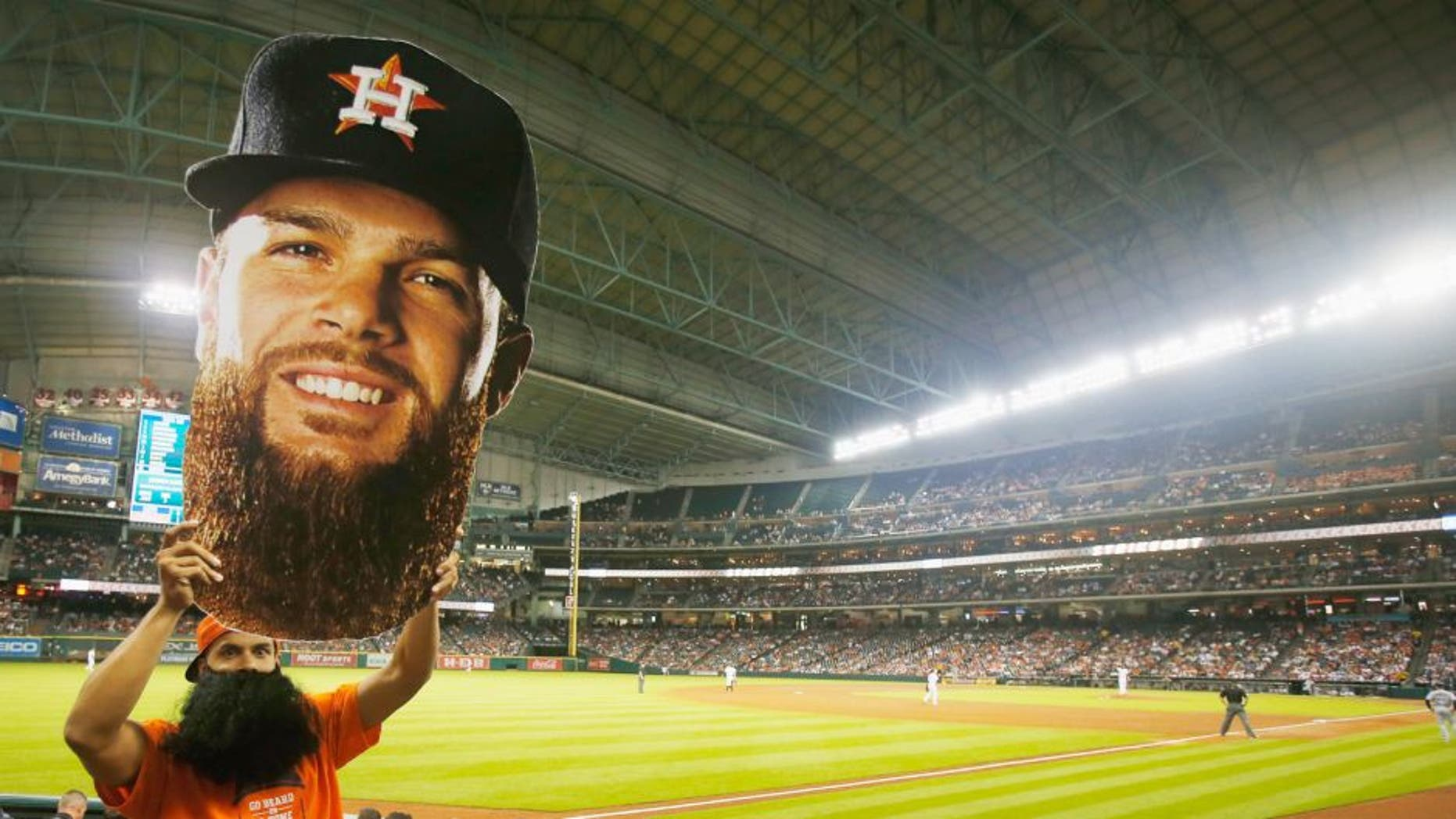 HOUSTON, TX - AUGUST 19: A Dallas Keuchel fan cheers in left field during the fifth inning of the game between the Houston Astros and the Tampa Bay Rays at Minute Maid Park on August 19, 2015 in Houston, Texas. (Photo by Scott Halleran/Getty Images)