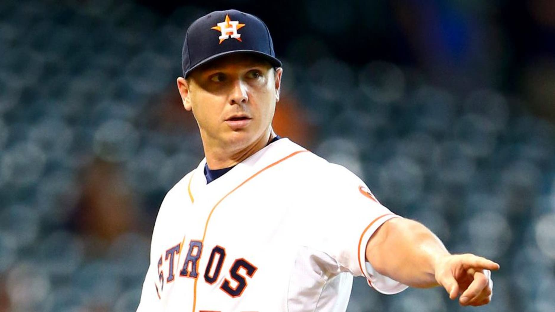 Aug 17, 2015; Houston, TX, USA; Houston Astros pitcher Scott Kazmir reacts in the first inning against the Tampa Bay Rays at Minute Maid Park. Mandatory Credit: Mark J. Rebilas-USA TODAY Sports
