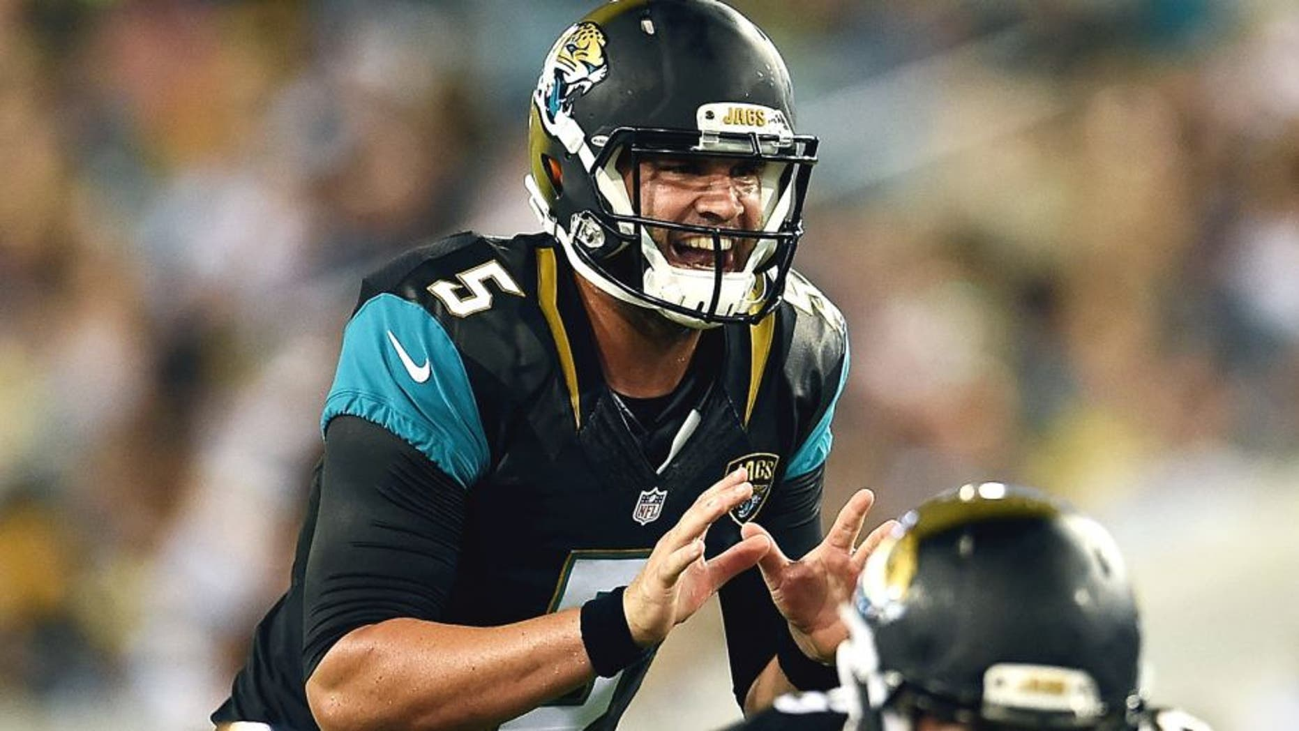 JACKSONVILLE, FL - AUGUST 14: Blake Bortles #5 of the Jacksonville Jaguars calls for the ball during a preseason game against the Pittsburgh Steelers at EverBank Field on August 14, 2015 in Jacksonville, Florida. (Photo by Stacy Revere/Getty Images)