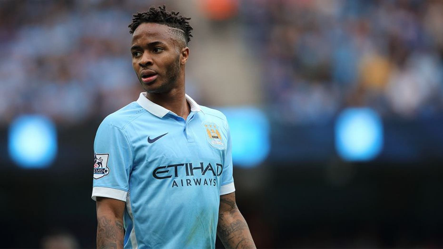 MANCHESTER, ENGLAND - AUGUST 16: Raheem Sterling of Manchester City during the Barclays Premier League match between Manchester City and Chelsea at the Etihad Stadium on August 16, 2015 in Manchester, England. (Photo by Matthew Ashton - AMA/Getty Images)