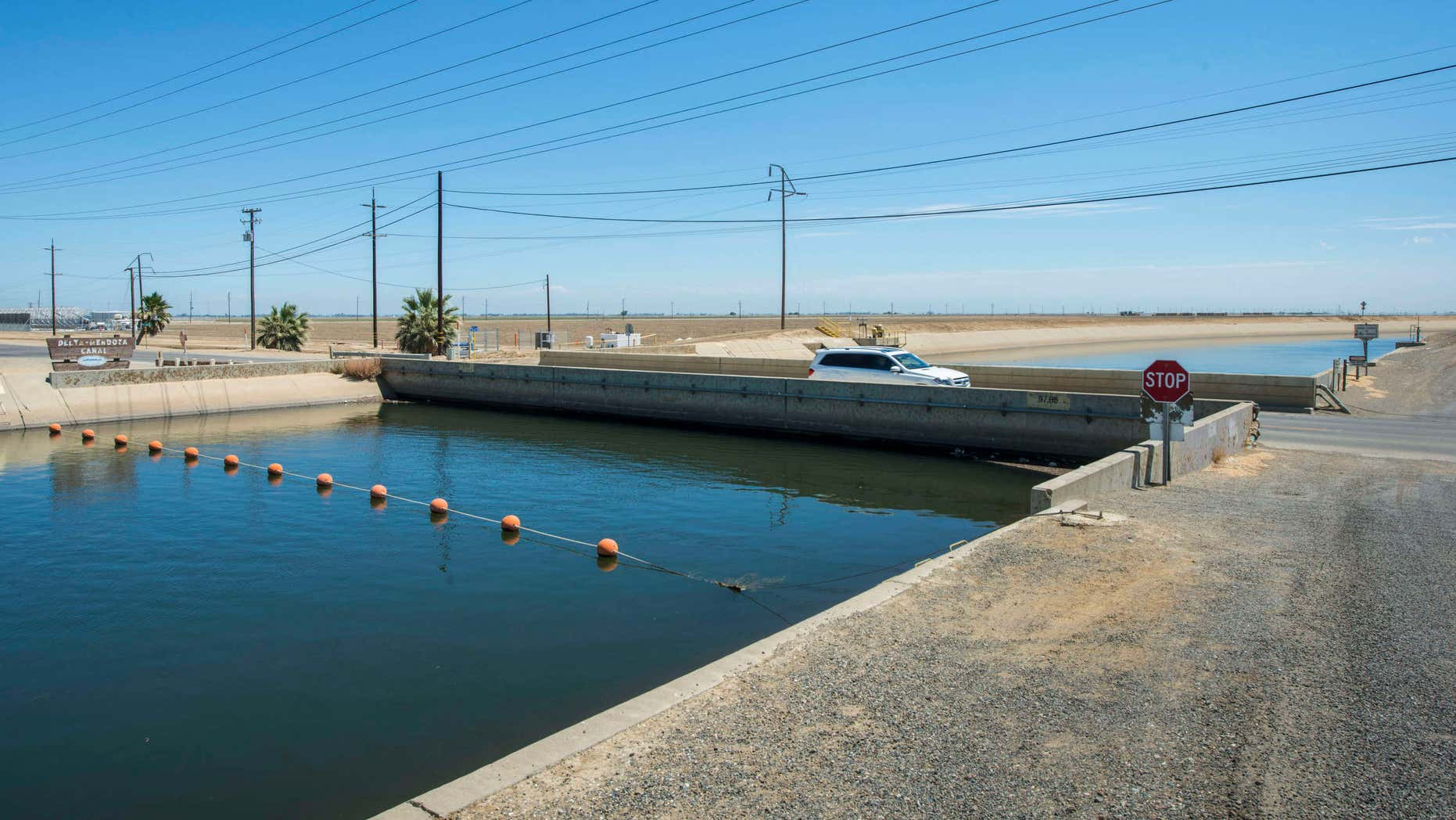 July 23, 2015: This photo provided by the California Department of Water Resources shows The Russell Avenue bridge, over the Delta Mendota Canal in Firebaugh, Calif.