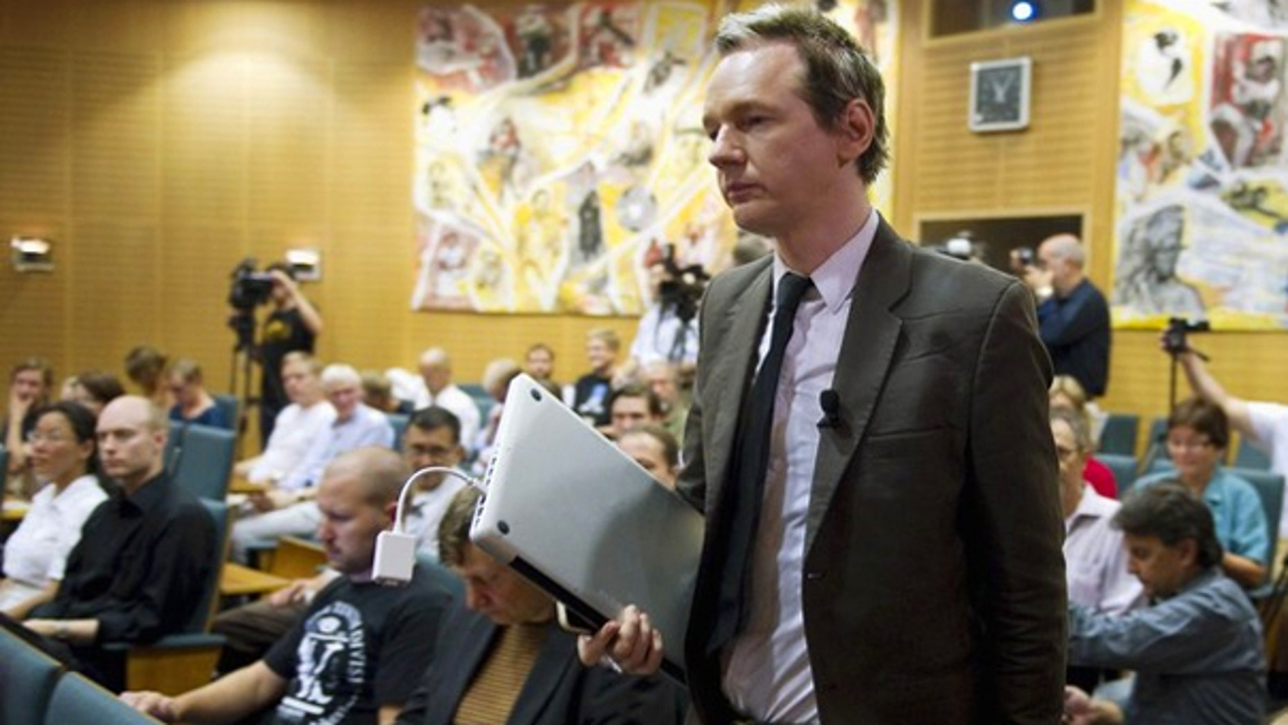 Aug. 14: WikiLeaks founder Julian Assange attends a seminar at the Swedish Trade Union Confederation headquarters in Stockholm.
