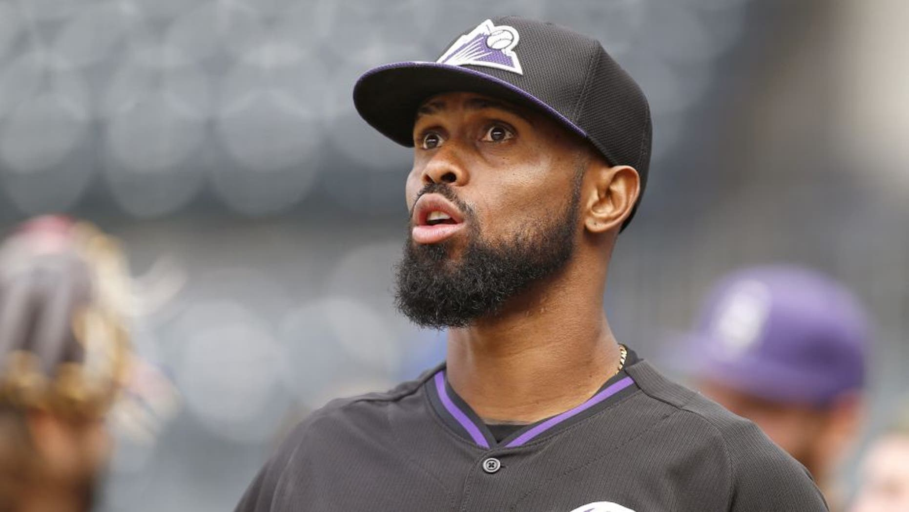 NEW YORK, NY - AUGUST 10: Jose Reyes #7 of the Colorado Rockies before the start of a game against the New York Mets on August 10, 2015 at Citi Field in the Flushing neighborhood of the Queens borough of New York City. (Photo by Rich Schultz/Getty Images)