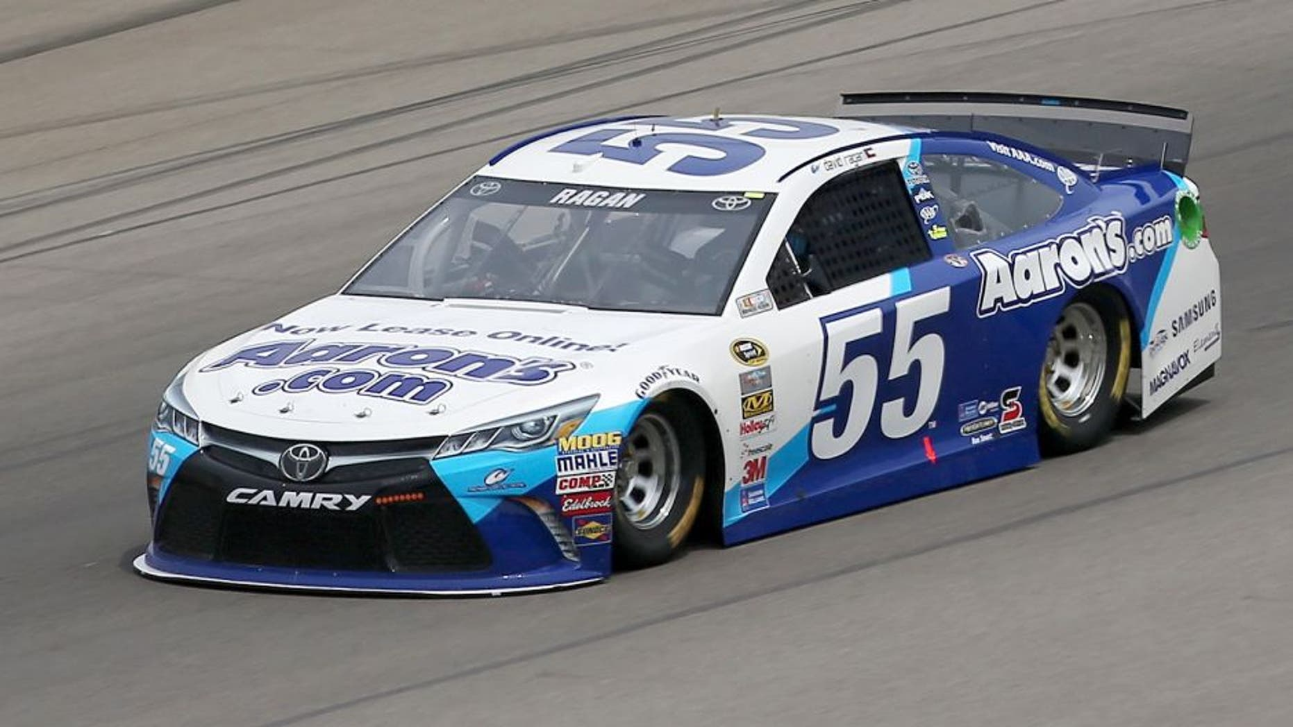 BROOKLYN, MI - AUGUST 14: David Ragan drives the #55 Aaron's Dream Machine Online Version Toyota during practice for the NASCAR Sprint Cup Series Pure Michigan 400 at Michigan International Speedway on August 14, 2015 in Brooklyn, Michigan. (Photo by Sean Gardner/NASCAR via Getty Images)