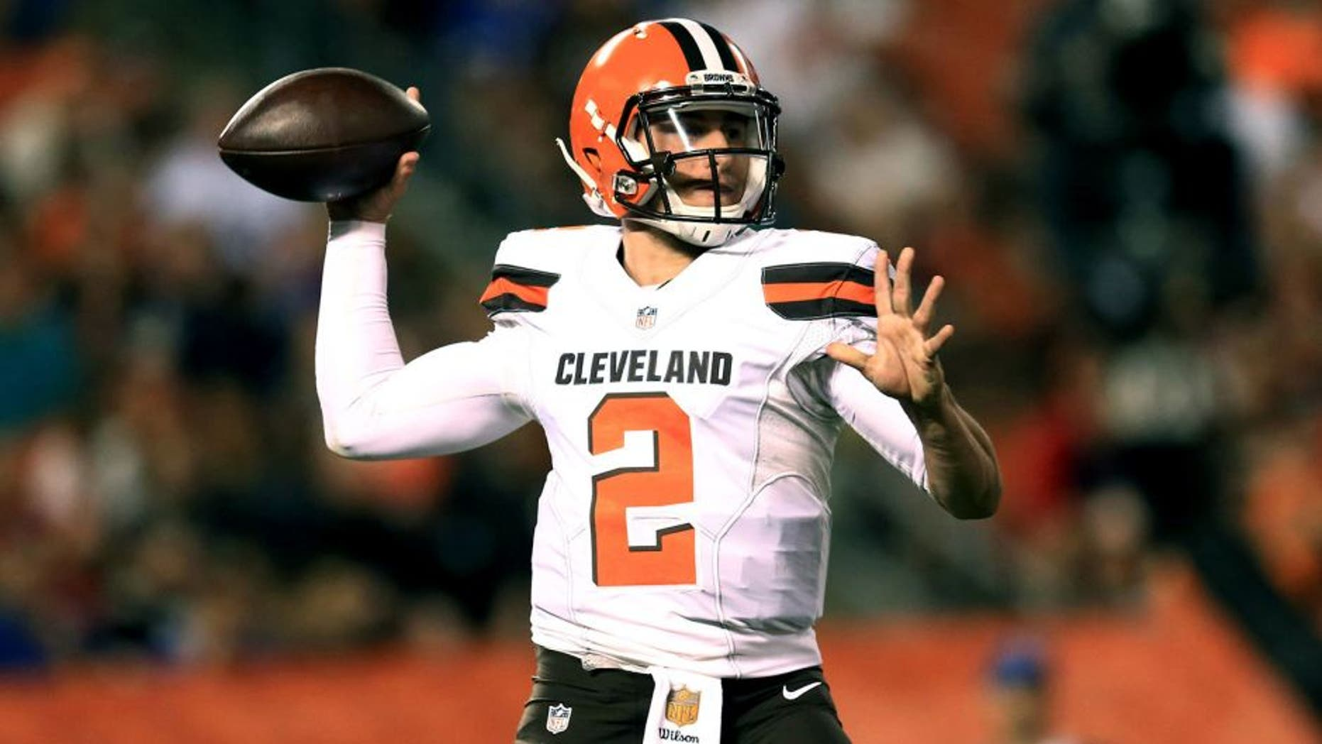 Aug 20, 2015; Cleveland, OH, USA; Cleveland Browns quarterback Johnny Manziel (2) throws a pass during the fourth quarter of a preseason game against the Buffalo Bills at FirstEnergy Stadium. Mandatory Credit: Andrew Weber-USA TODAY Sports