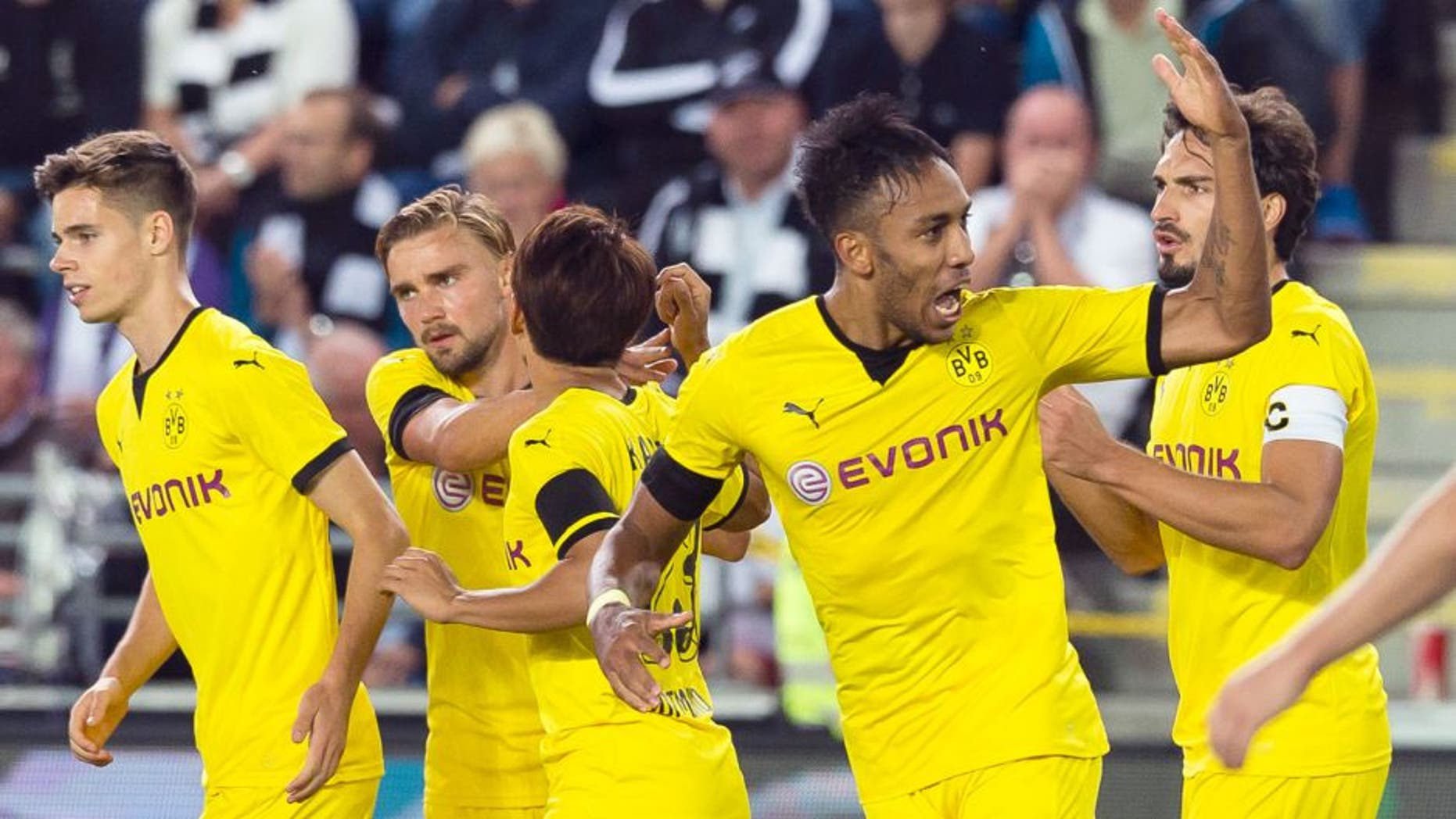 SKIEN, NORWAY - AUGUST 20: Pierre-Emerick Aubameyang of Borussia Dortmund celebrates scoring to make it 3:3 during the UEFA Europa League: Third Qualifying Round 1st Leg match between Wolfsberg and Borussia Dortmund at Skagerrak-Arena on August 20, 2015 in Skien, Norway. (Photo by Alexandre Simoes/Borussia Dortmund/Getty Images)