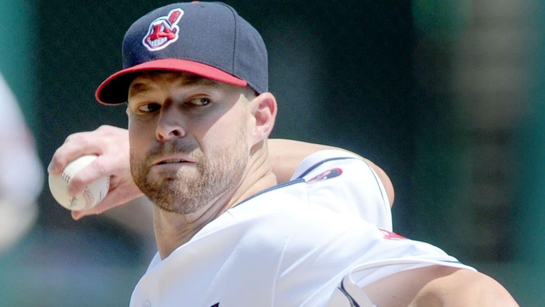 Jul 29, 2015; Cleveland, OH, USA; Cleveland Indians starting pitcher Corey Kluber (28) at Progressive Field. Mandatory Credit: Ken Blaze-USA TODAY Sports