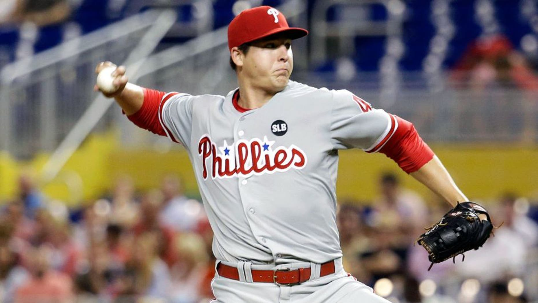 Philadelphia Phillies' starting pitcher Jerad Eickhoff throws in the first inning of a baseball game against the Miami Marlins, Friday, Aug. 21, 2015, in Miami. (AP Photo/Lynne Sladky)