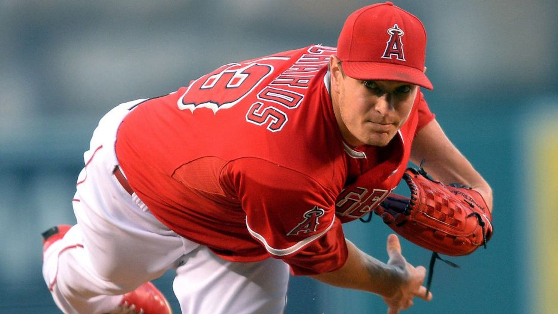 Aug 18, 2015; Anaheim, CA, USA; Los Angeles Angels starting pitcher Garrett Richards (43) in the first inning of the game against the Chicago White Sox at Angel Stadium of Anaheim. Mandatory Credit: Jayne Kamin-Oncea-USA TODAY Sports