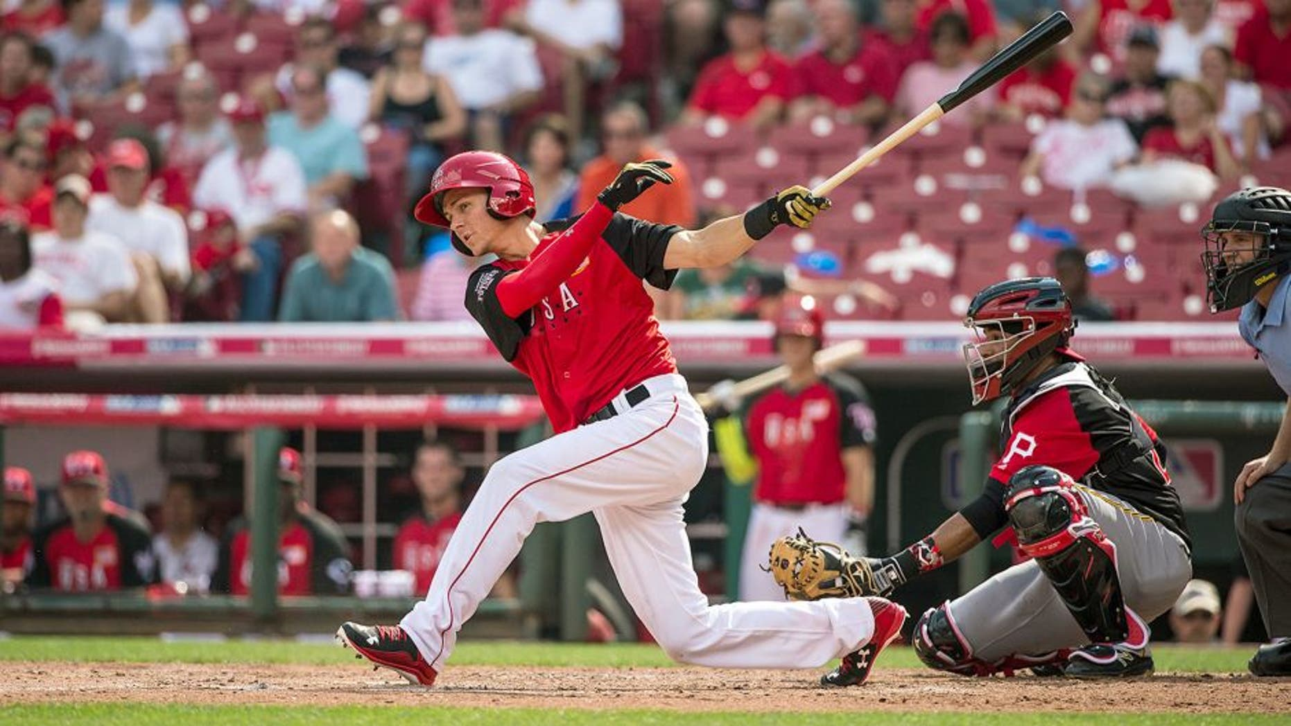 CINCINNATI, OH- JULY 12: Trea Turner #8 of the U.S. Team bats during the SiriusXM All-Star Futures Game at the Great American Ball Park on July 12, 2015 in Cincinnati, Ohio. (Photo by Brace Hemmelgarn/Minnesota Twins/Getty Images)