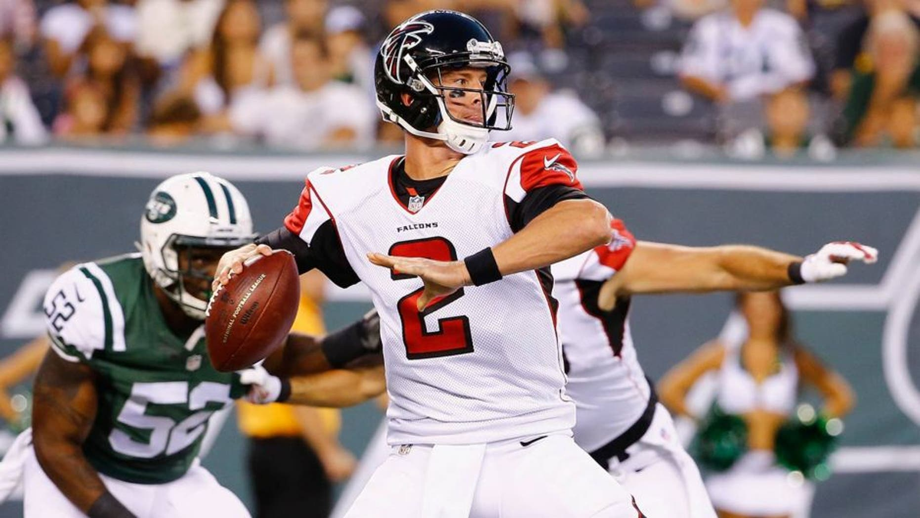 EAST RUTHERFORD, NJ - AUGUST 21: Matt Ryan #2 of the Atlanta Falcons passes against the New York Jets during their pre season game at MetLife Stadium on August 21, 2015 in East Rutherford, New Jersey. (Photo by Al Bello/Getty Images)