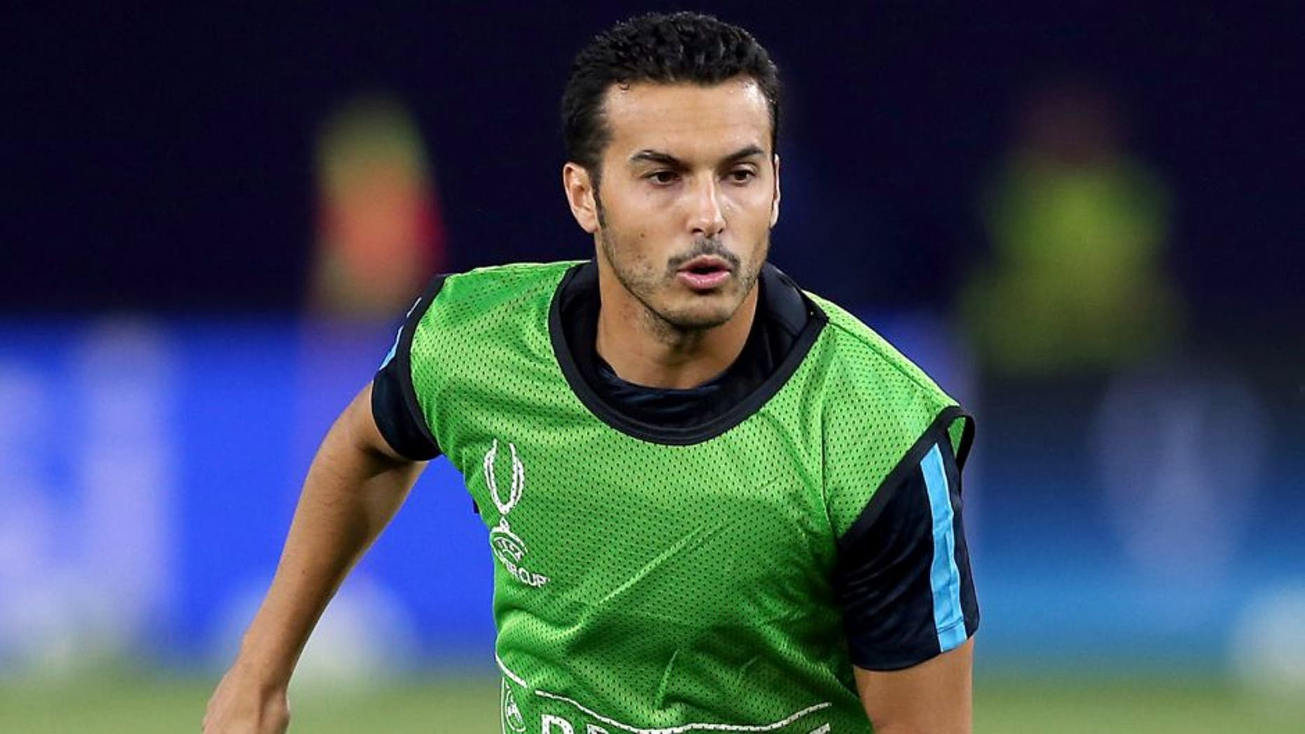 TBILISI, GEORGIA - AUGUST 10: Pedro of Barcelona in action during a training session ahead of the UEFA Super Cup match between Barcelona and Sevilla FC at Dinamo Stadium on August 10, 2015 in Tbilisi, Georgia. (Photo by Chris Brunskill/Getty Images)