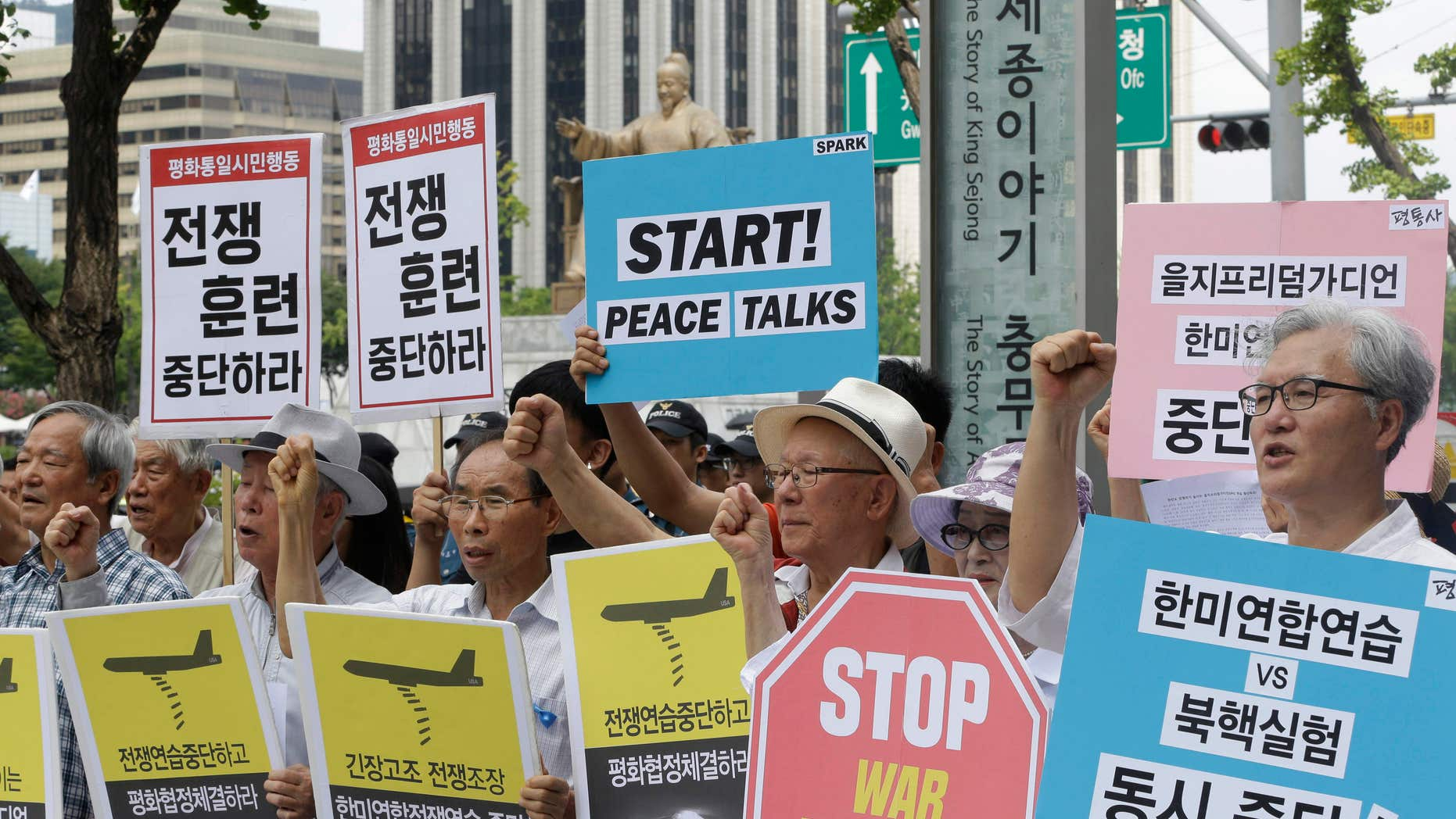 Aug. 22, 2016: South Korean protesters shout slogans during a rally demanding to stop the joint military exercises, Ulchi Freedom Guardian, or UFG, between the U.S. and South Korea near U.S. Embassy in Seoul, South Korea.