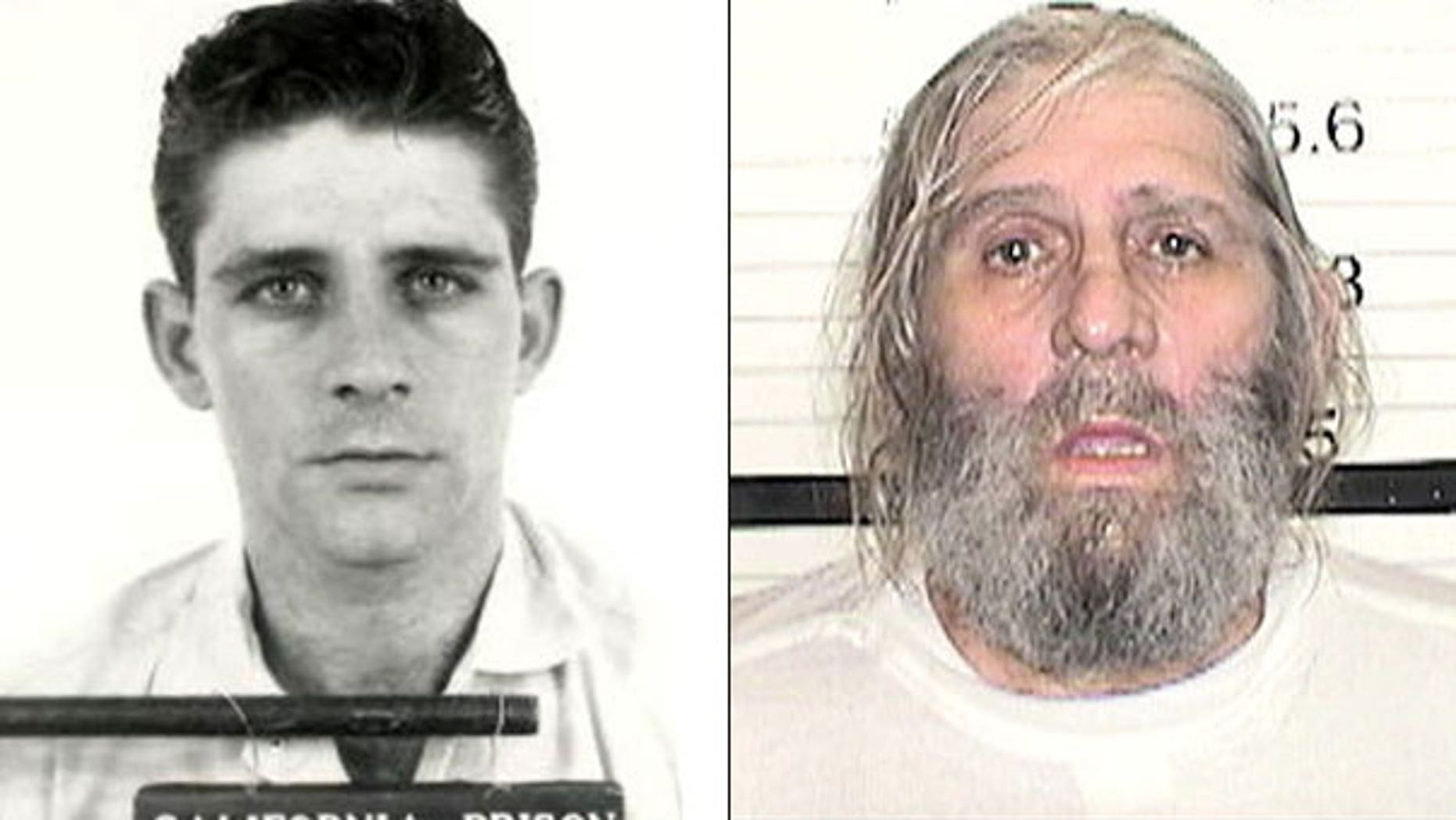 The photo on the left shows William Walter Asher III in 1967. The photo on the right shows Asher 36 years after he escaped from a California prison camp.