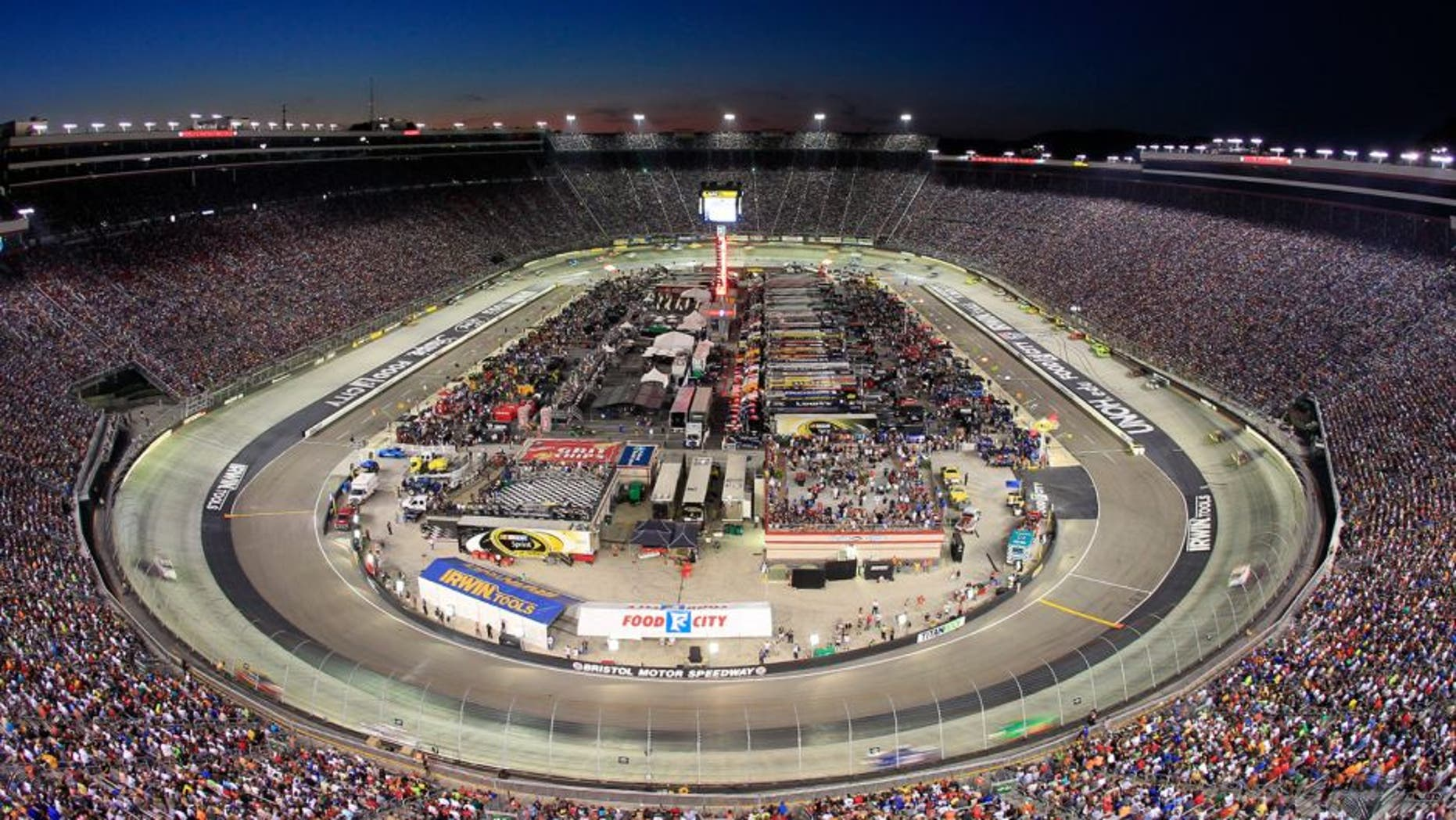BRISTOL, TN - AUGUST 24: A general view during the NASCAR Sprint Cup Series 53rd Annual IRWIN Tools Night Race at Bristol Motor Speedway on August 24, 2013 in Bristol, Tennessee. (Photo by Geoff Burke/NASCAR via Getty Images)