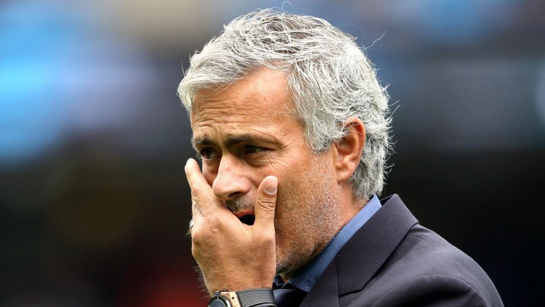MANCHESTER, ENGLAND - AUGUST 16: Jose Mourinho the head coach / manager of Chelsea during the Barclays Premier League match between Manchester City and Chelsea at the Etihad Stadium on August 16, 2015 in Manchester, England. (Photo by Matthew Ashton - AMA/Getty Images)