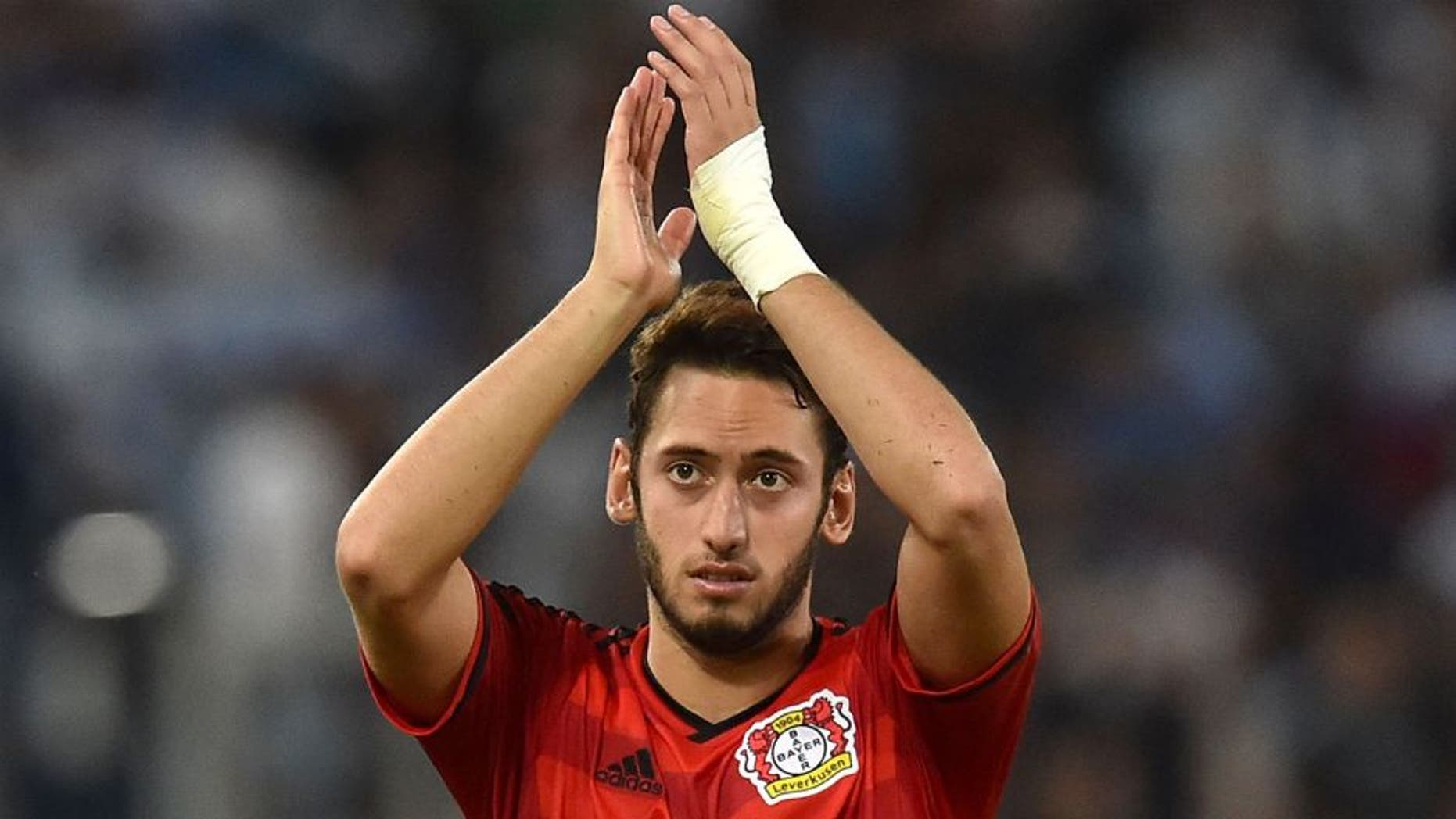 ROME, ITALY - AUGUST 18: Hakan Calhanoglu of Bayer Leverkusen after the UEFA Champions League qualifying round play off first leg match between SS Lazio and Bayer Leverkusen at Olimpico Stadium on August 18, 2015 in Rome, Italy. (Photo by Giuseppe Bellini/Getty Images)