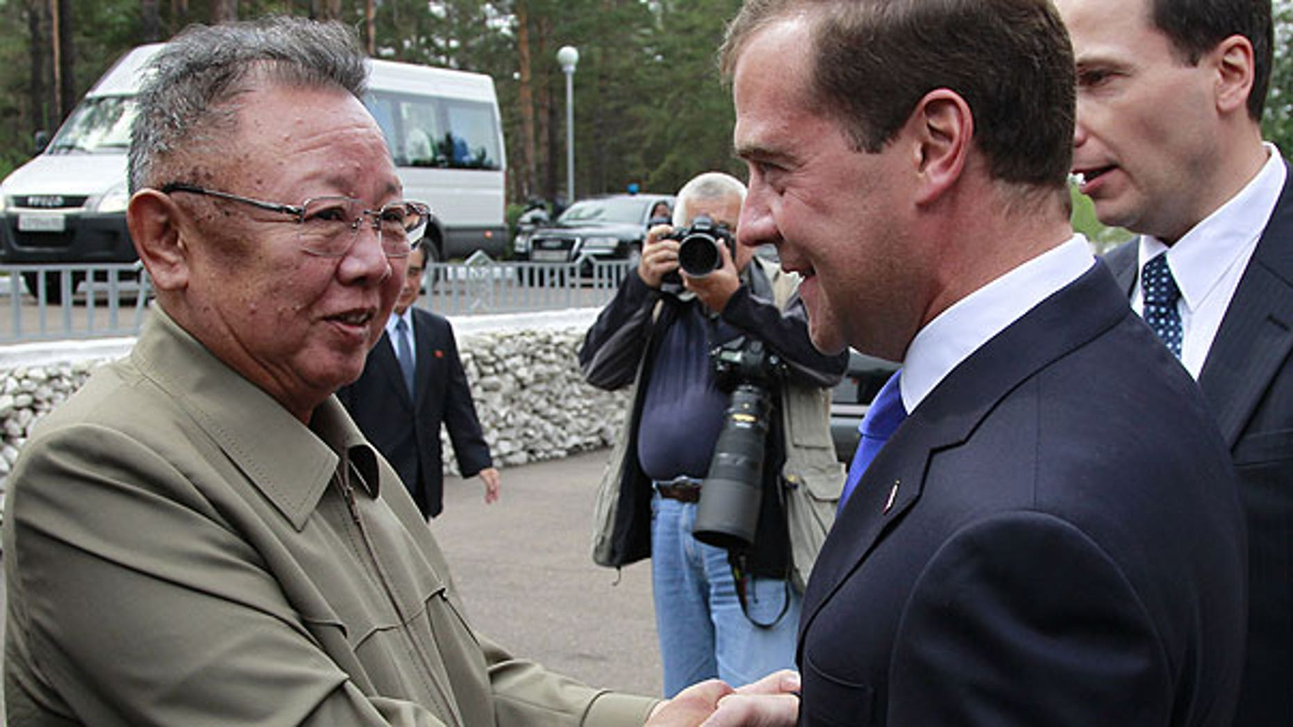 Aug. 24: Russian President Dmitry Medvedev, right, shakes hands with North Korean leader Kim Jong Il outside Ulan-Ude in Byryatia.