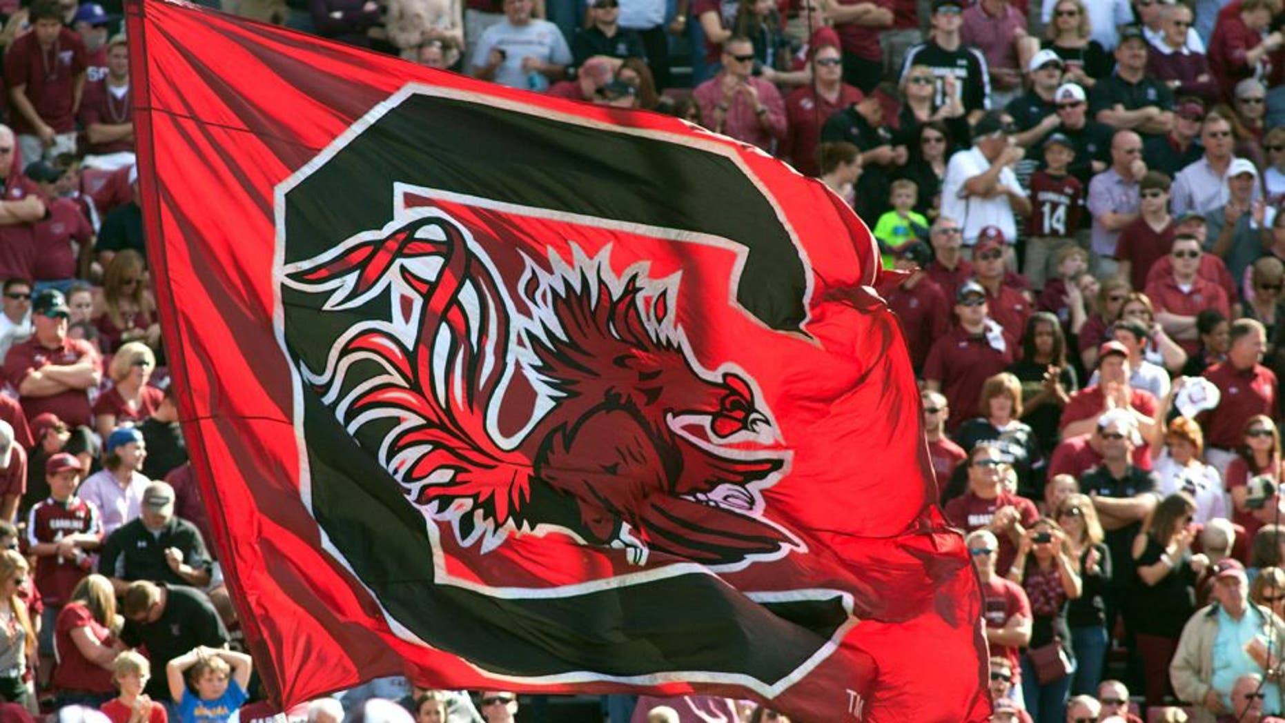 Nov 2, 2013; Columbia, SC, USA; The South Carolina Gamecocks flag is ran across the endzone after a score during the game against the Mississippi State Bulldogs at Williams-Brice Stadium. The Gamecocks defeated the Bulldogs 34-16. Mandatory Credit: Jeremy Brevard-USA TODAY Sports
