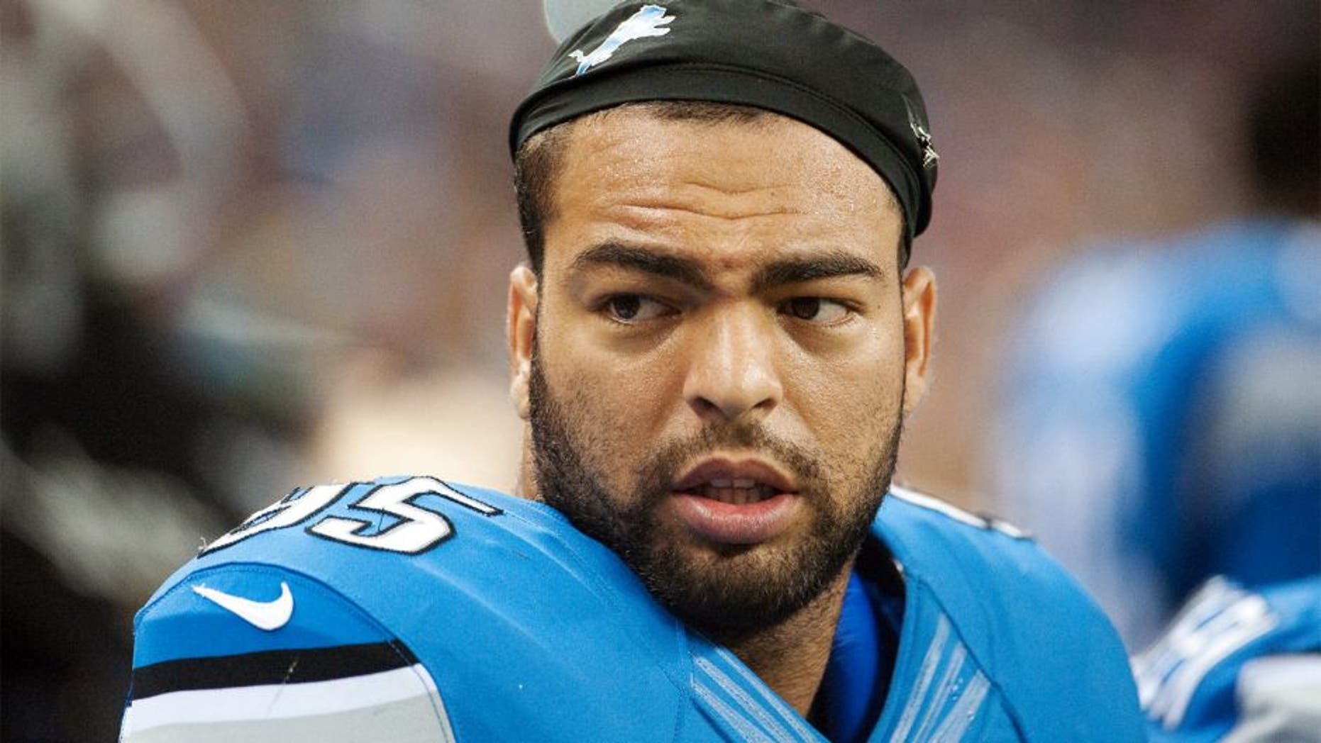 Aug 9, 2014; Detroit, MI, USA; Detroit Lions outside linebacker Kyle Van Noy (95) during the second quarter at Ford Field. Mandatory Credit: Tim Fuller-USA TODAY Sports