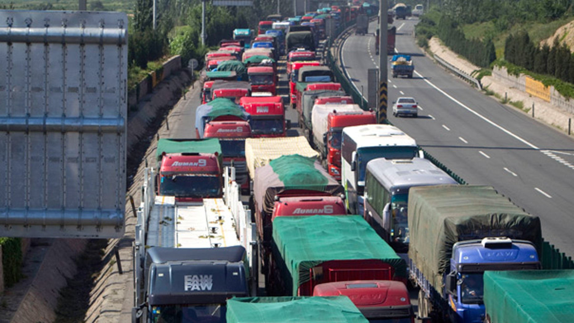 Aug. 24: A massive traffic jam stretching dozens of miles is seen in north China's Hebei province.
