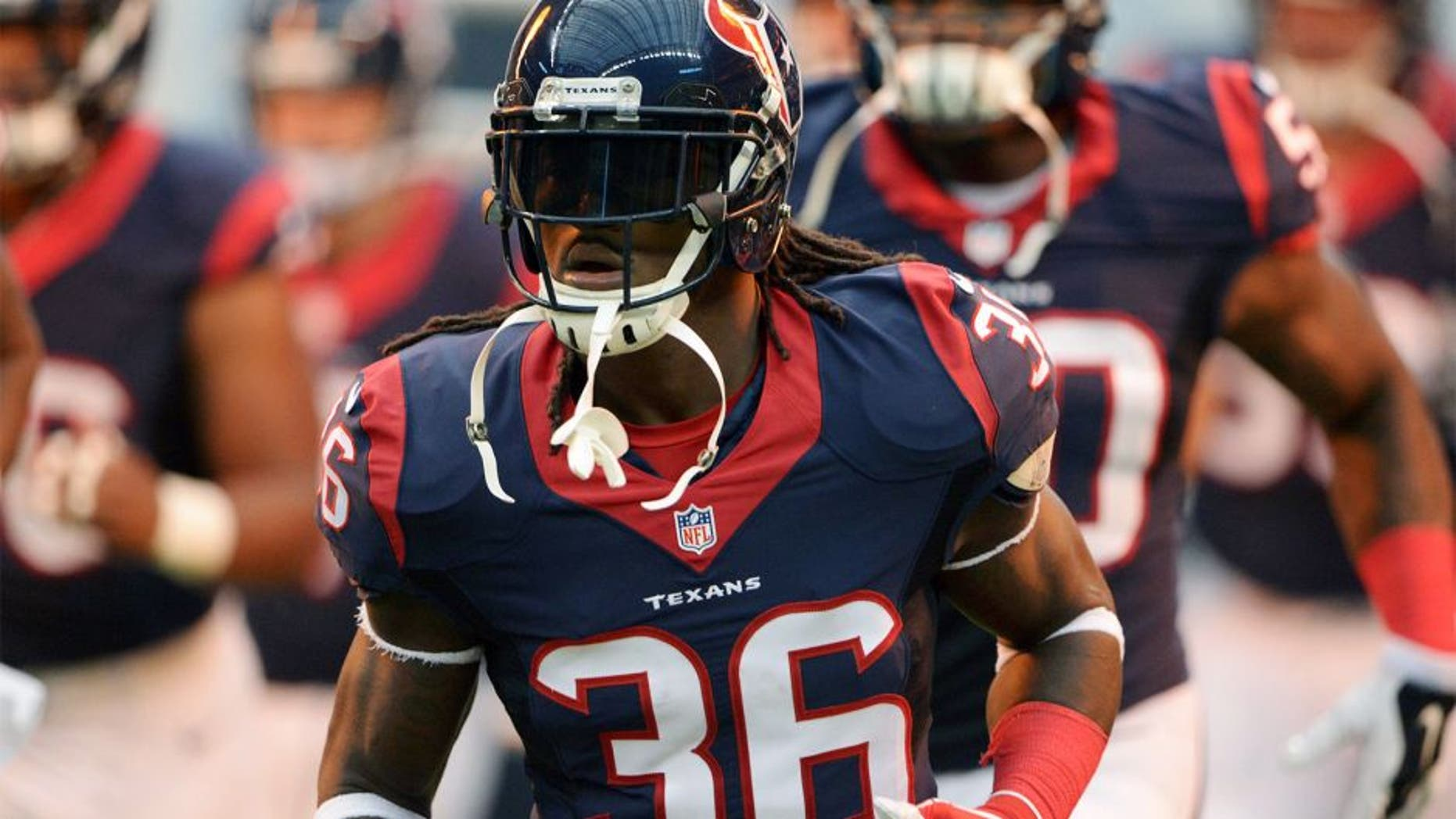 Aug 16, 2014; Houston, TX, USA; Houston Texans safety D.J. Swearinger (36) before the game against the Atlanta Falcons at NRG Stadium. Mandatory Credit: Kirby Lee-USA TODAY Sports
