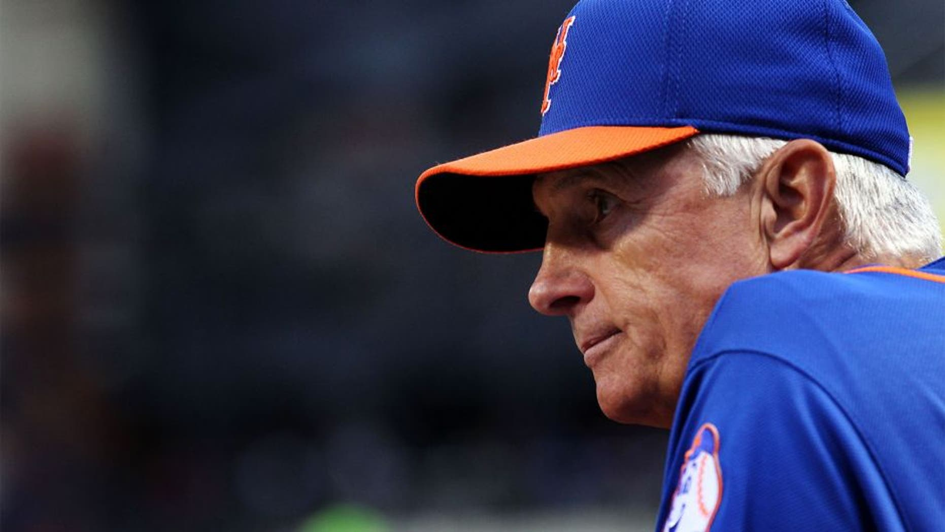 Aug 15, 2014; New York, NY, USA; New York Mets manager Terry Collins (10) looks on before taking on the Chicago Cubs at Citi Field. Mandatory Credit: Adam Hunger-USA TODAY Sports