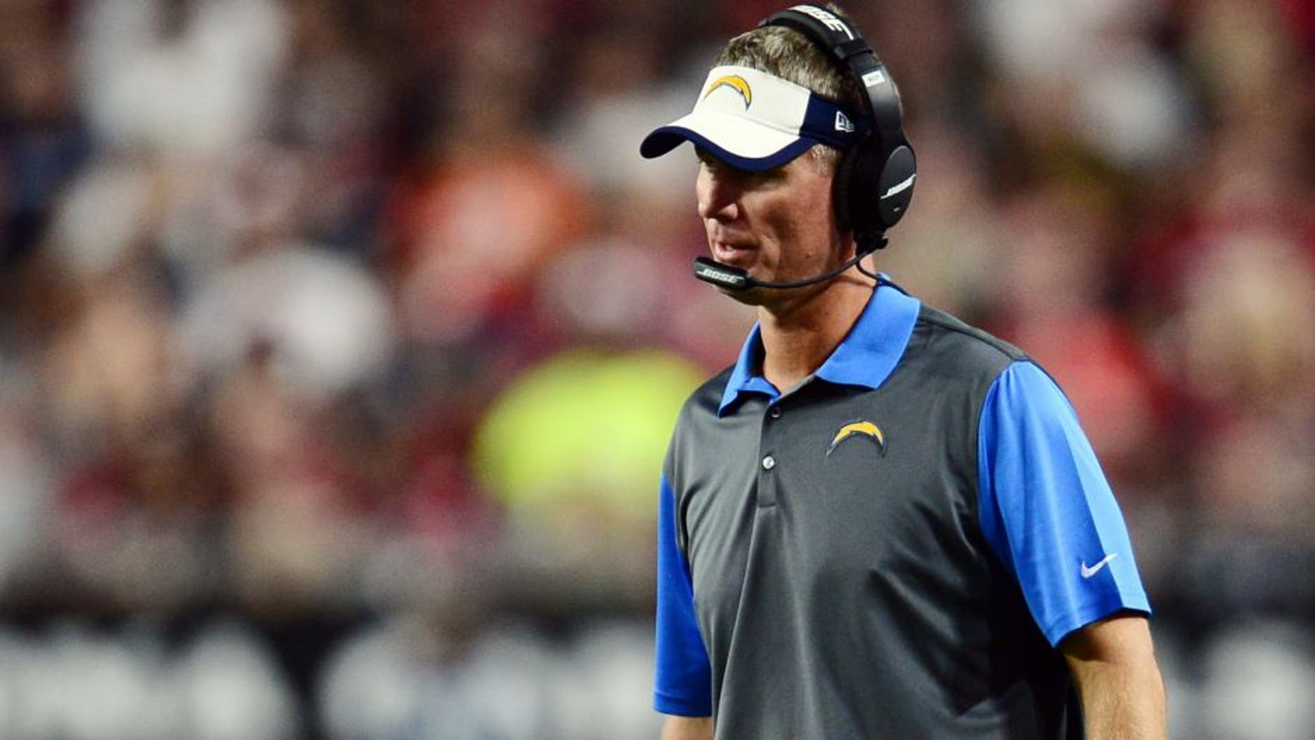 Aug 22, 2015; Glendale, AZ, USA; San Diego Chargers head coach Mike McCoy looks on against the Arizona Cardinals during the first half at University of Phoenix Stadium. Mandatory Credit: Joe Camporeale-USA TODAY Sports