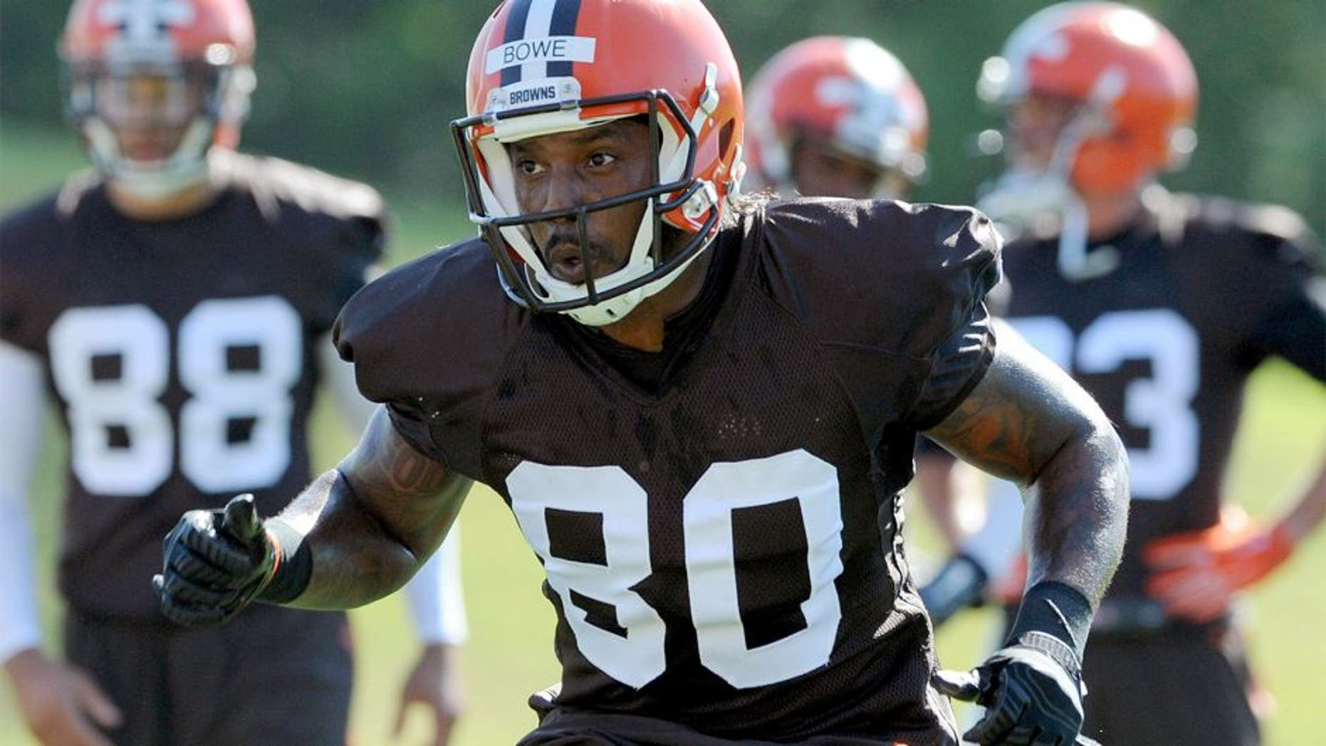 Jul 30, 2015; Berea, OH, USA; Cleveland Browns wide receiver Dwayne Bowe (80) works out during training camp at the Cleveland Browns practice facility. Mandatory Credit: Ken Blaze-USA TODAY Sports